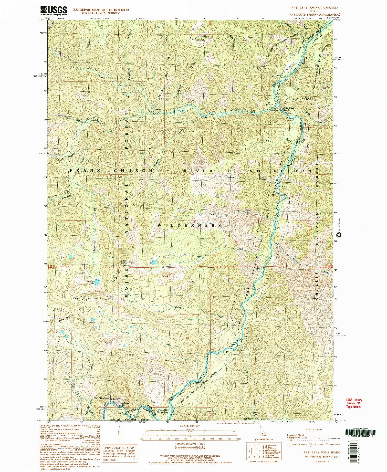 USGS 1:24000-SCALE QUADRANGLE FOR ARTILLERY DOME, ID 1990