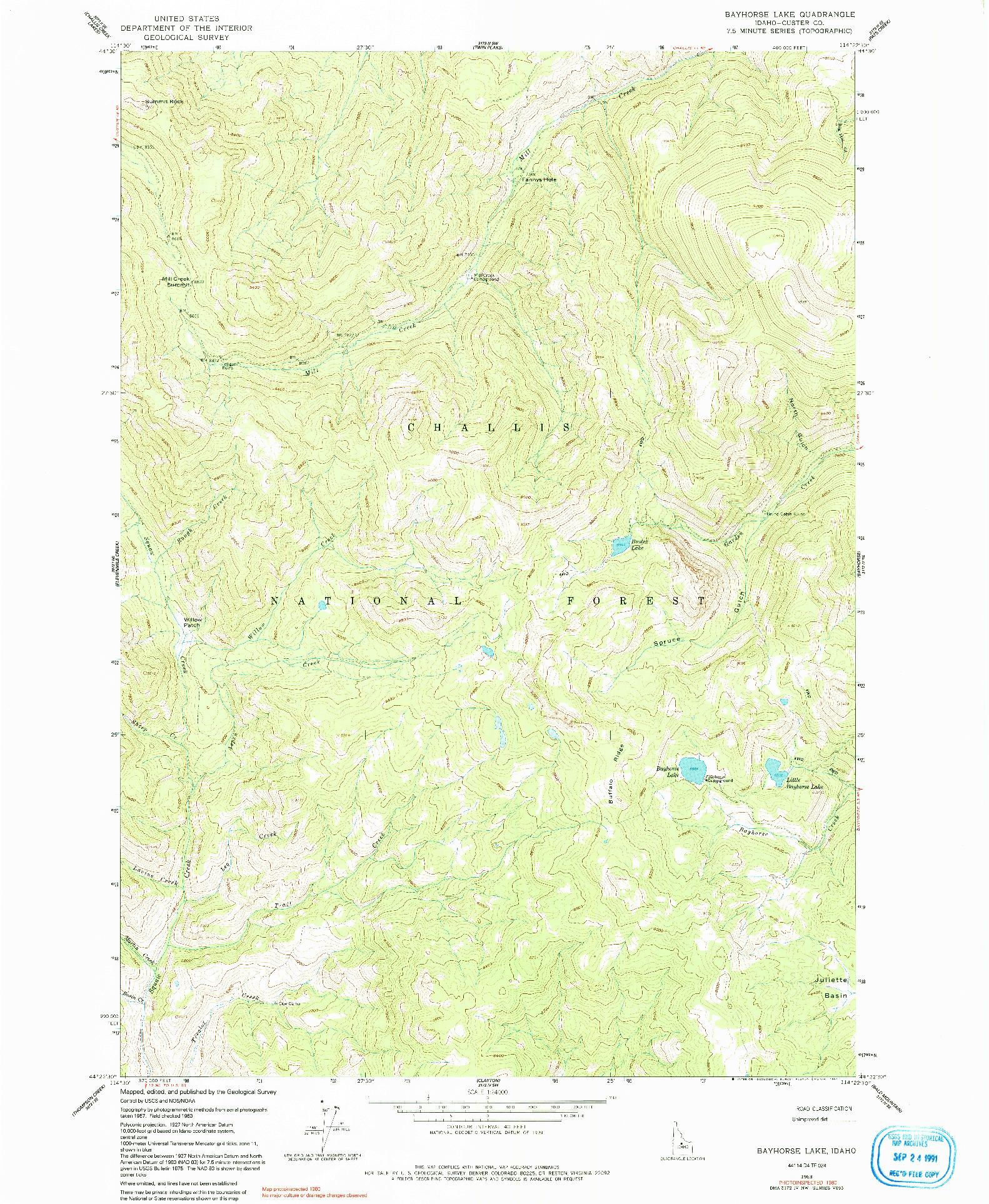USGS 1:24000-SCALE QUADRANGLE FOR BAYHORSE LAKE, ID 1963