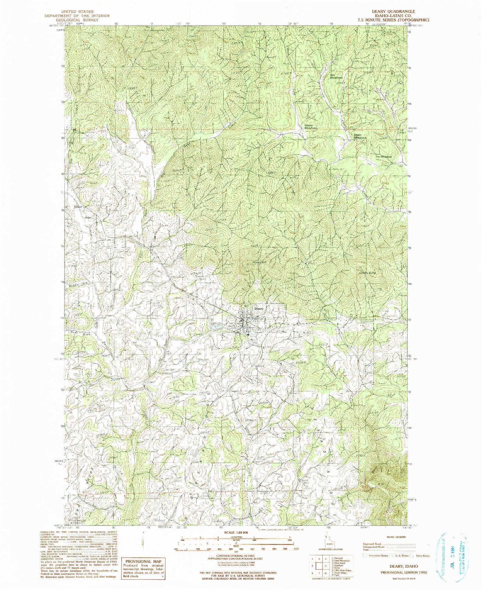 USGS 1:24000-SCALE QUADRANGLE FOR DEARY, ID 1990