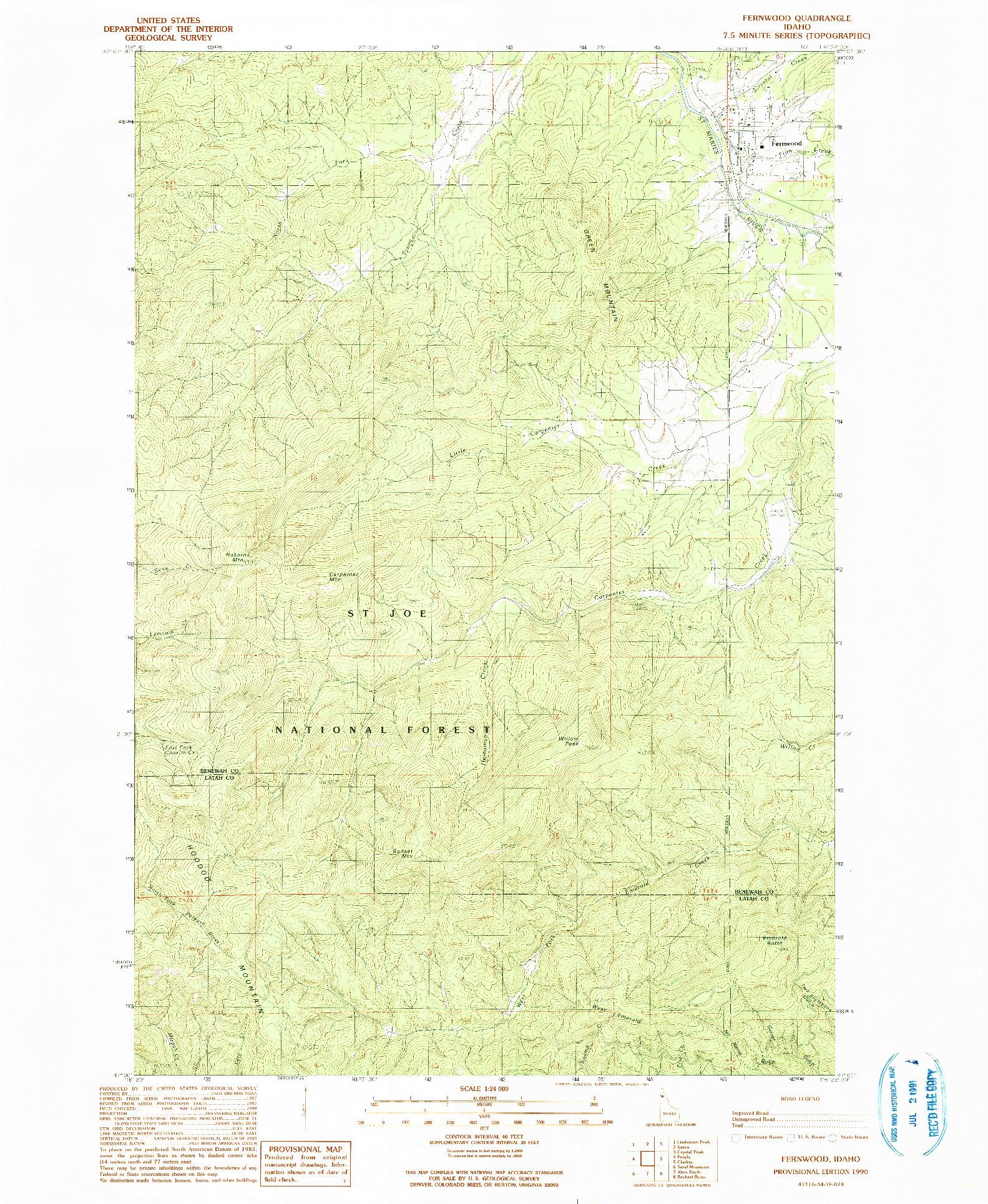 USGS 1:24000-SCALE QUADRANGLE FOR FERNWOOD, ID 1990