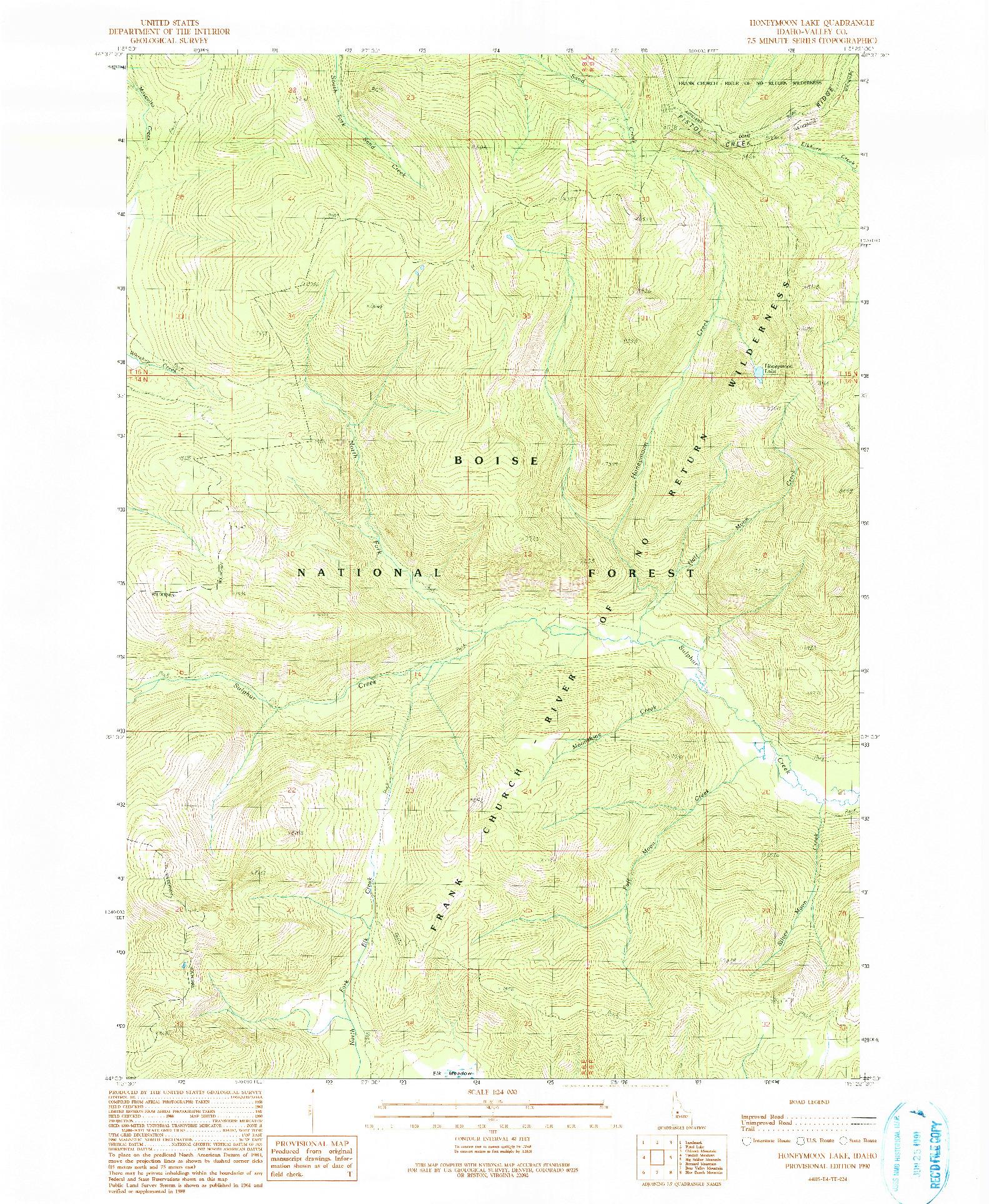 USGS 1:24000-SCALE QUADRANGLE FOR HONEYMOON LAKE, ID 1990