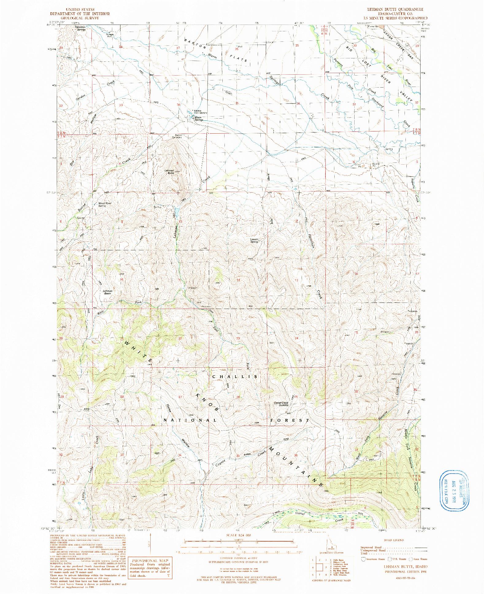 USGS 1:24000-SCALE QUADRANGLE FOR LEHMAN BUTTE, ID 1991