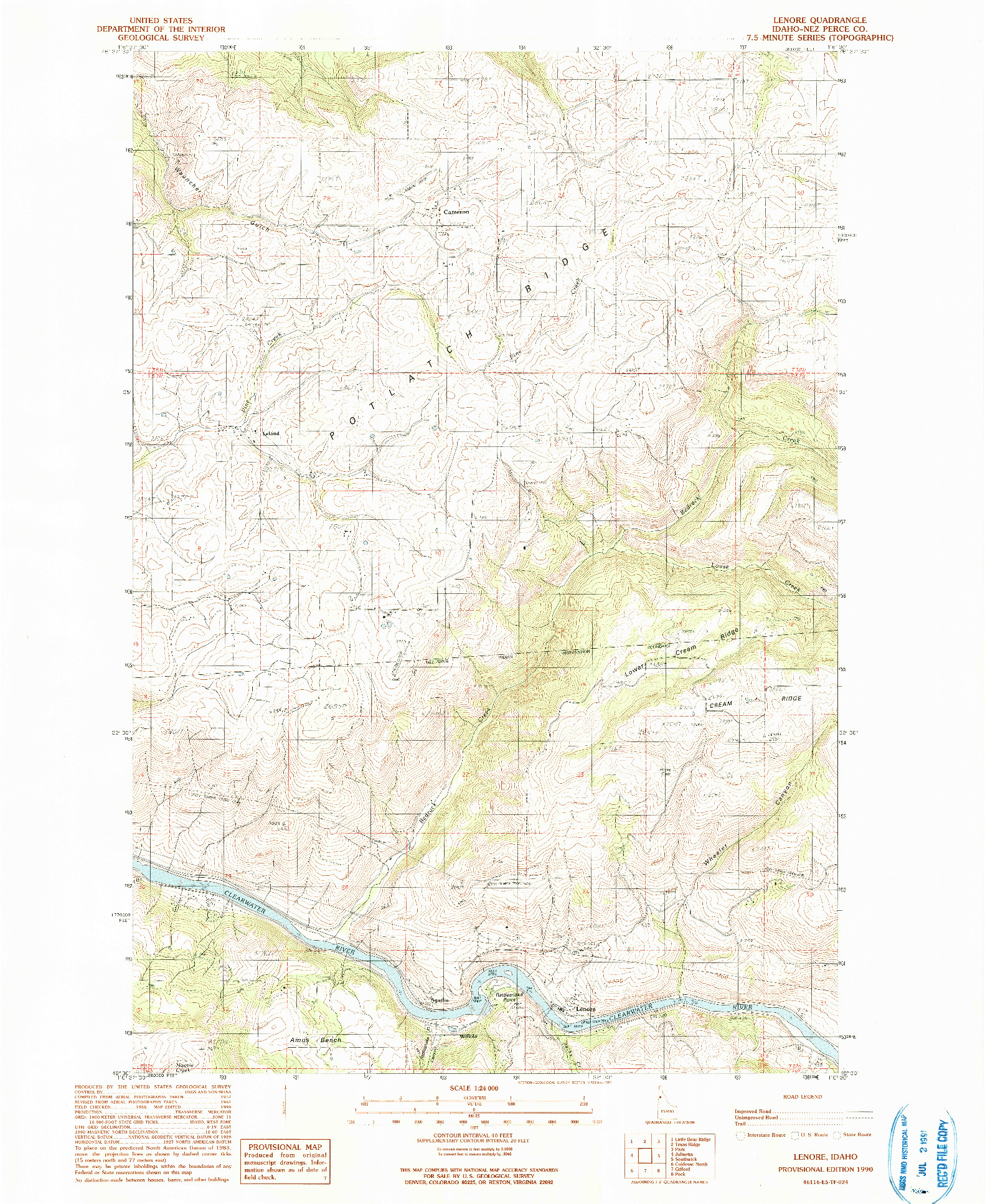USGS 1:24000-SCALE QUADRANGLE FOR LENORE, ID 1990