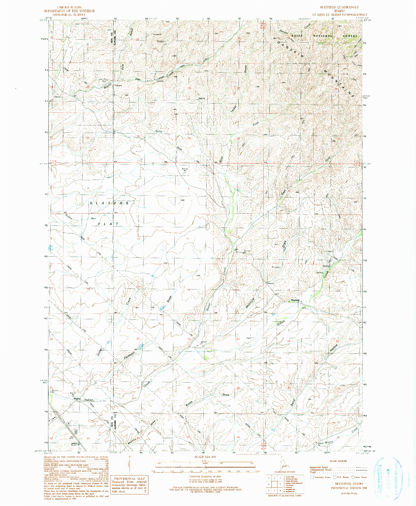 USGS 1:24000-SCALE QUADRANGLE FOR MAYFIELD, ID 1990