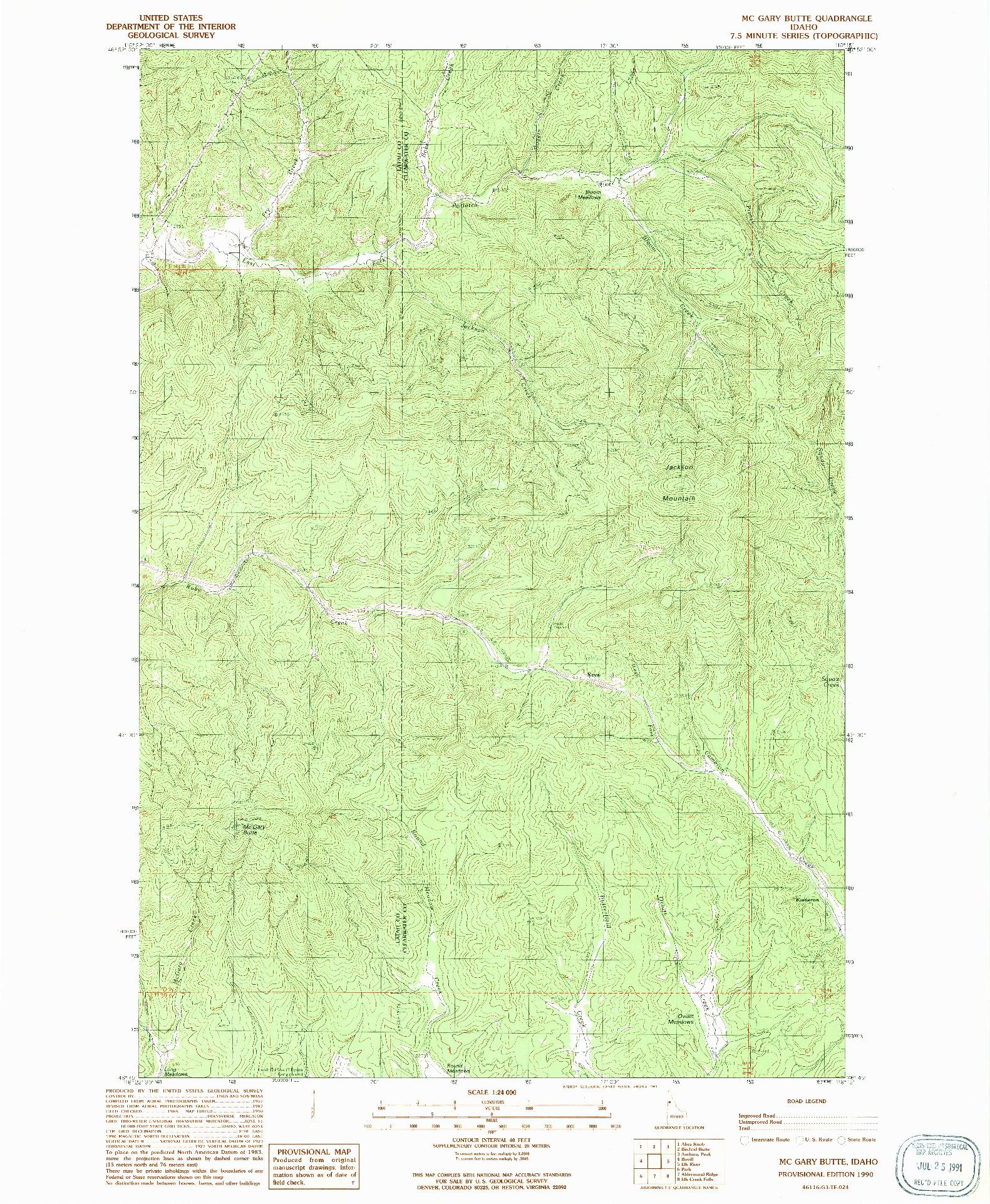 USGS 1:24000-SCALE QUADRANGLE FOR MC GARY BUTTE, ID 1990