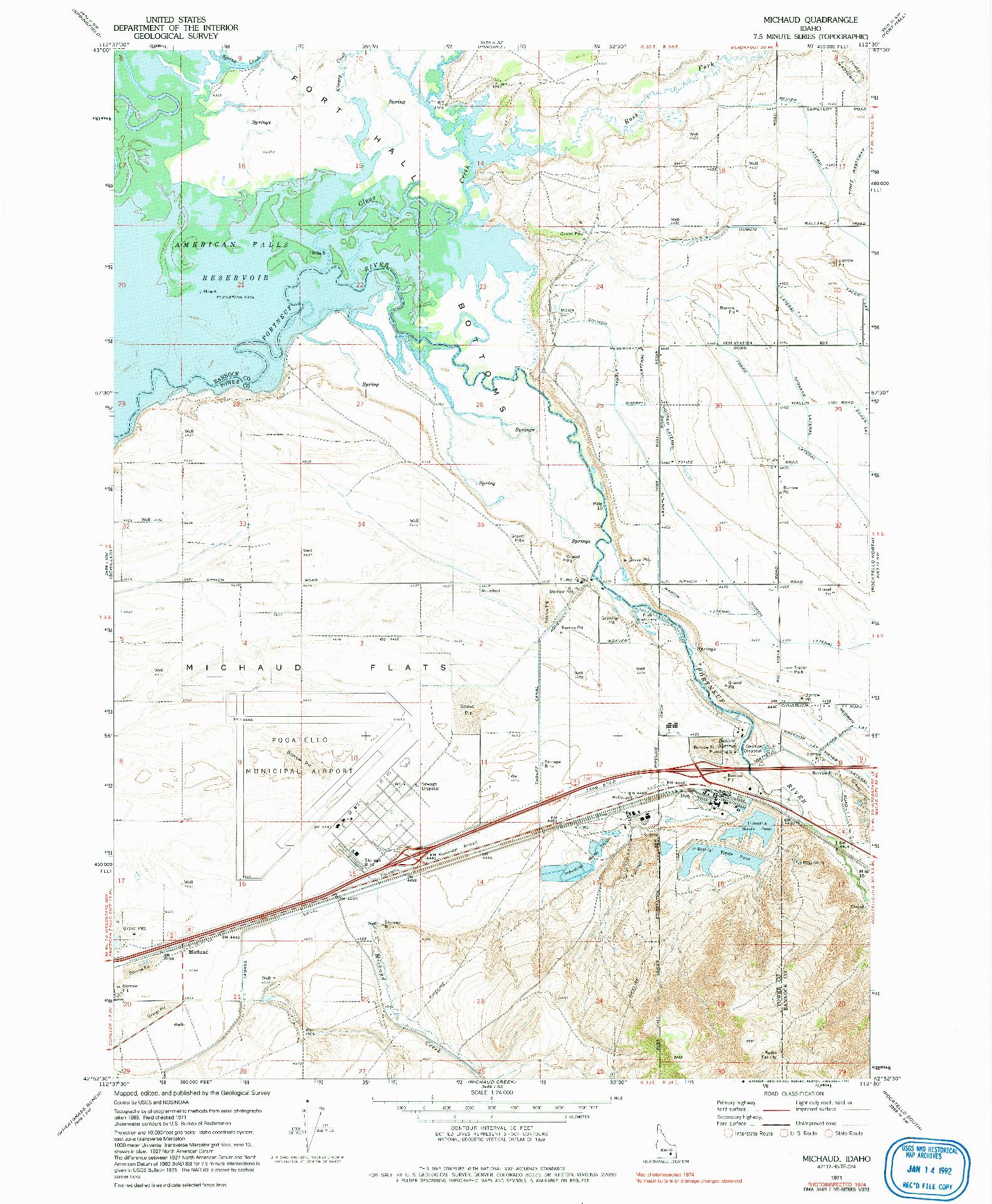 USGS 1:24000-SCALE QUADRANGLE FOR MICHAUD, ID 1971