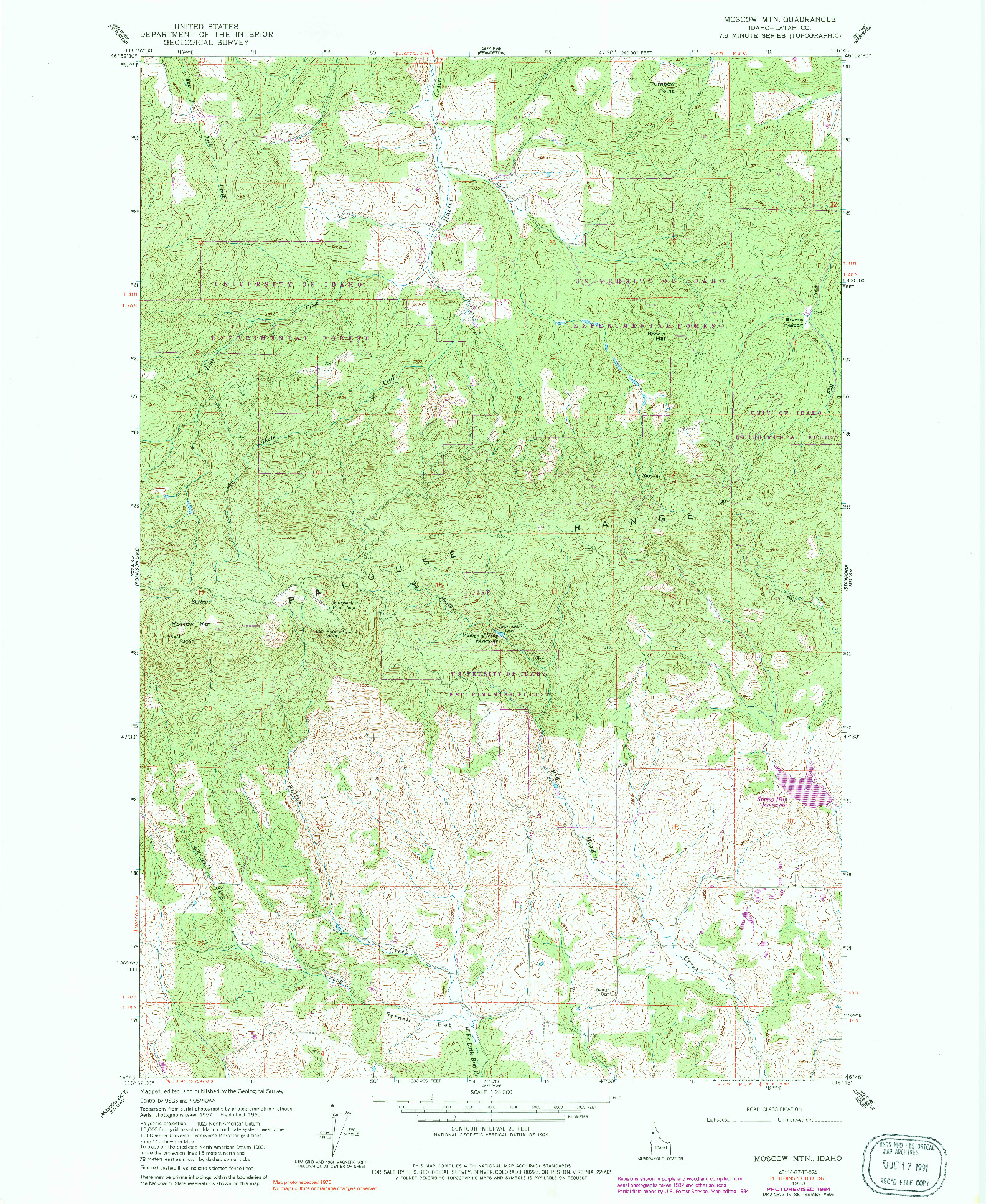 USGS 1:24000-SCALE QUADRANGLE FOR MOSCOW MOUNTAIN, ID 1960
