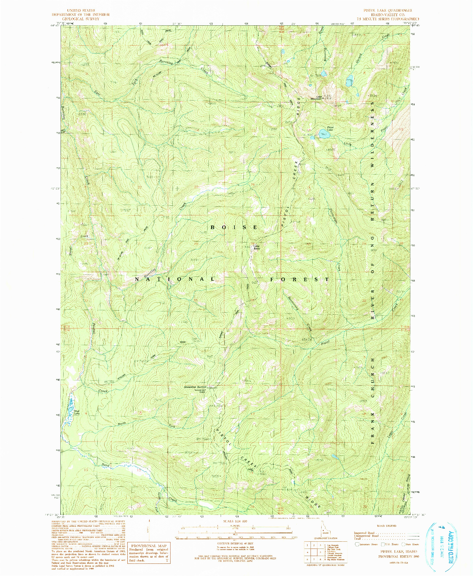 USGS 1:24000-SCALE QUADRANGLE FOR PISTOL LAKE, ID 1990