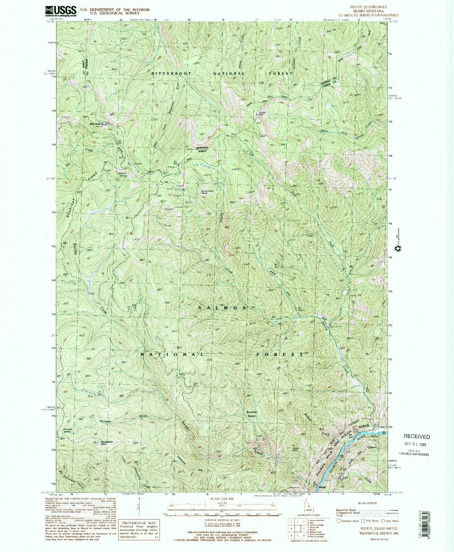 USGS 1:24000-SCALE QUADRANGLE FOR SHOUP, ID 1991