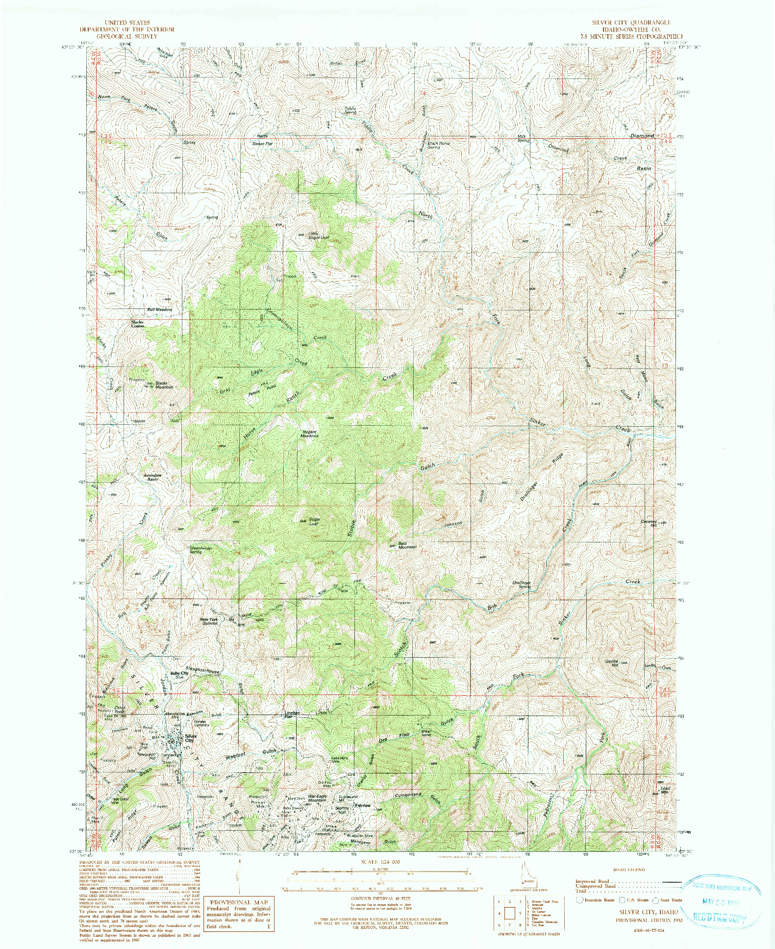 USGS 1:24000-SCALE QUADRANGLE FOR SILVER CITY, ID 1990