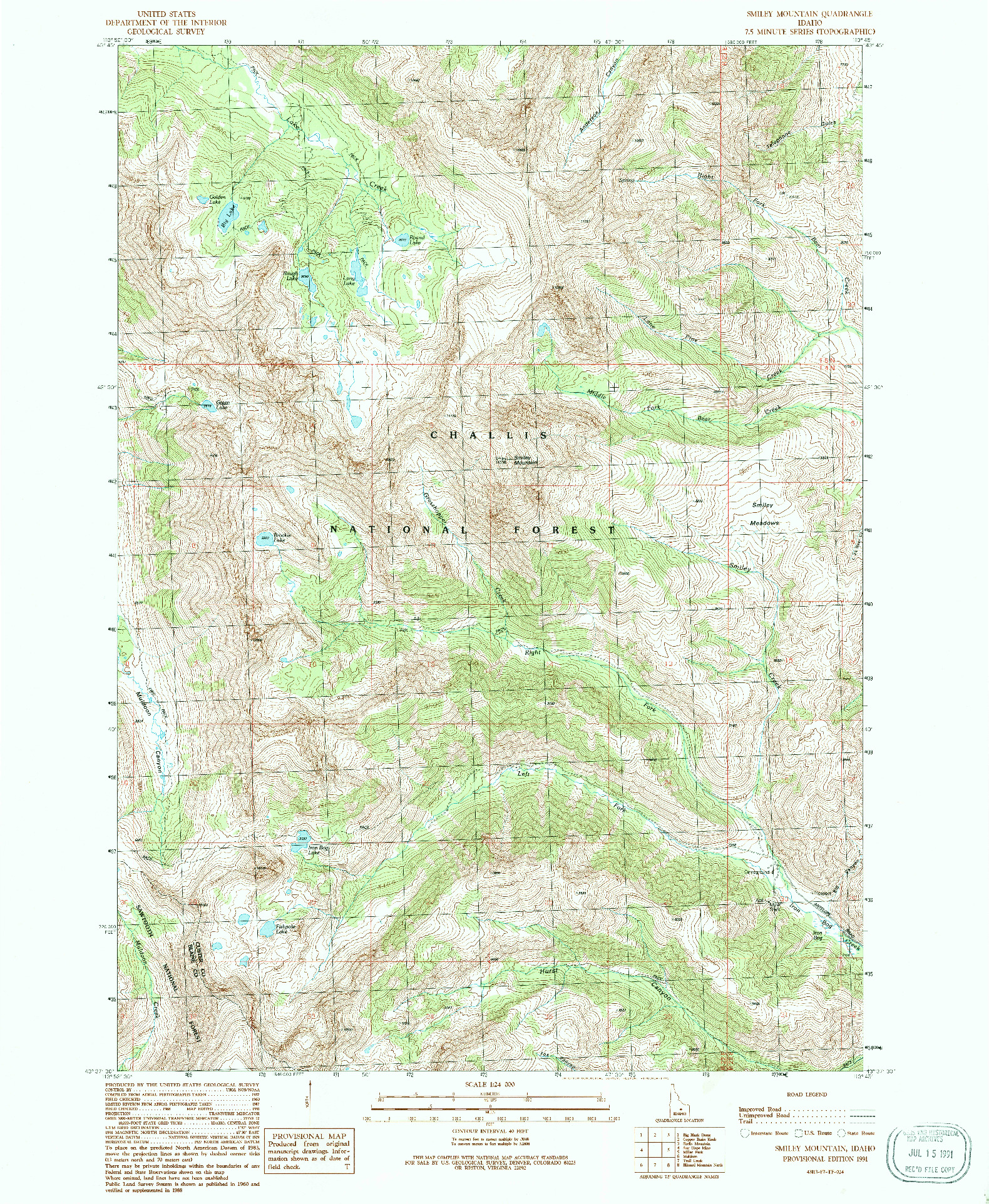 USGS 1:24000-SCALE QUADRANGLE FOR SMILEY MOUNTAIN, ID 1991