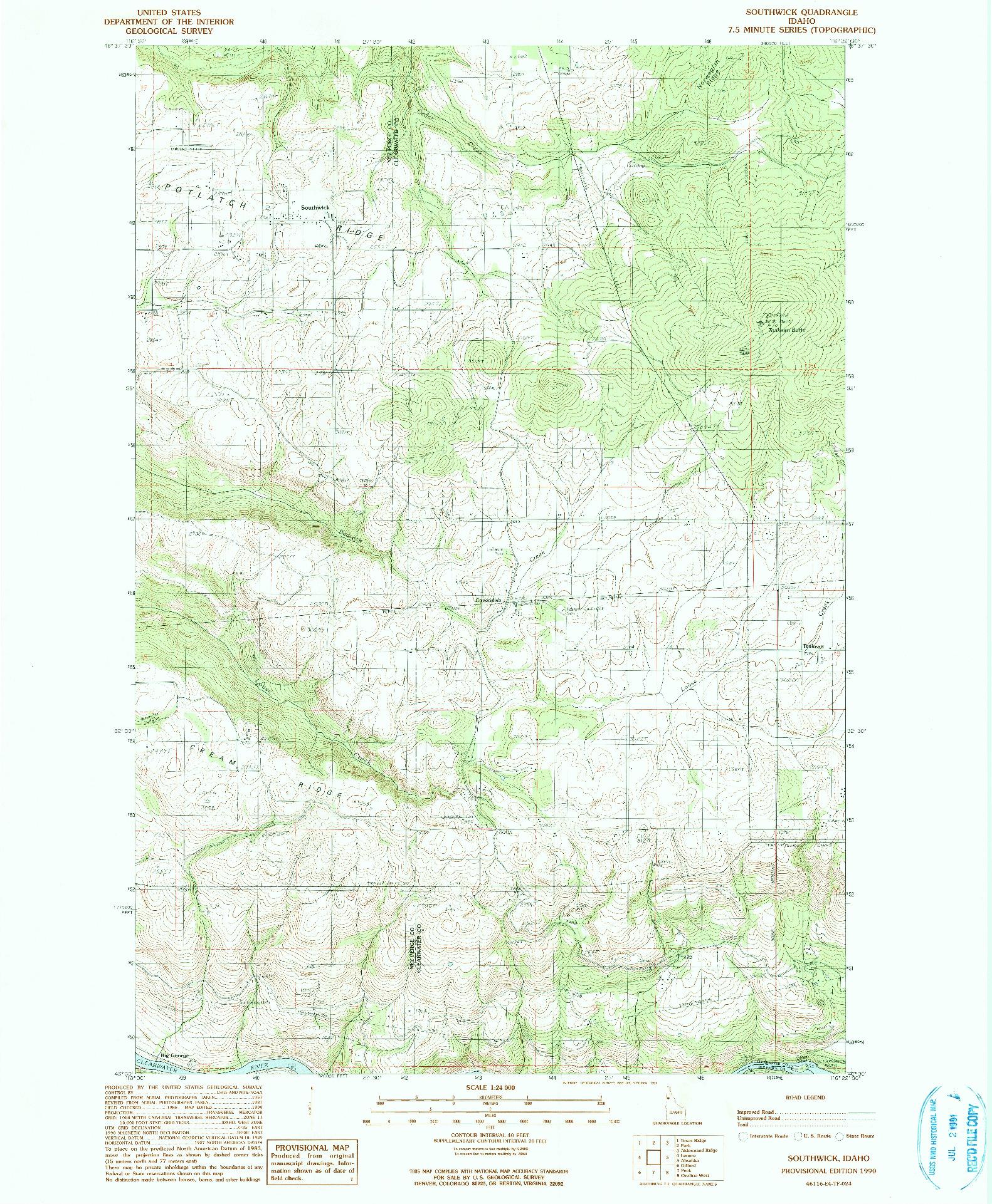 USGS 1:24000-SCALE QUADRANGLE FOR SOUTHWICK, ID 1990