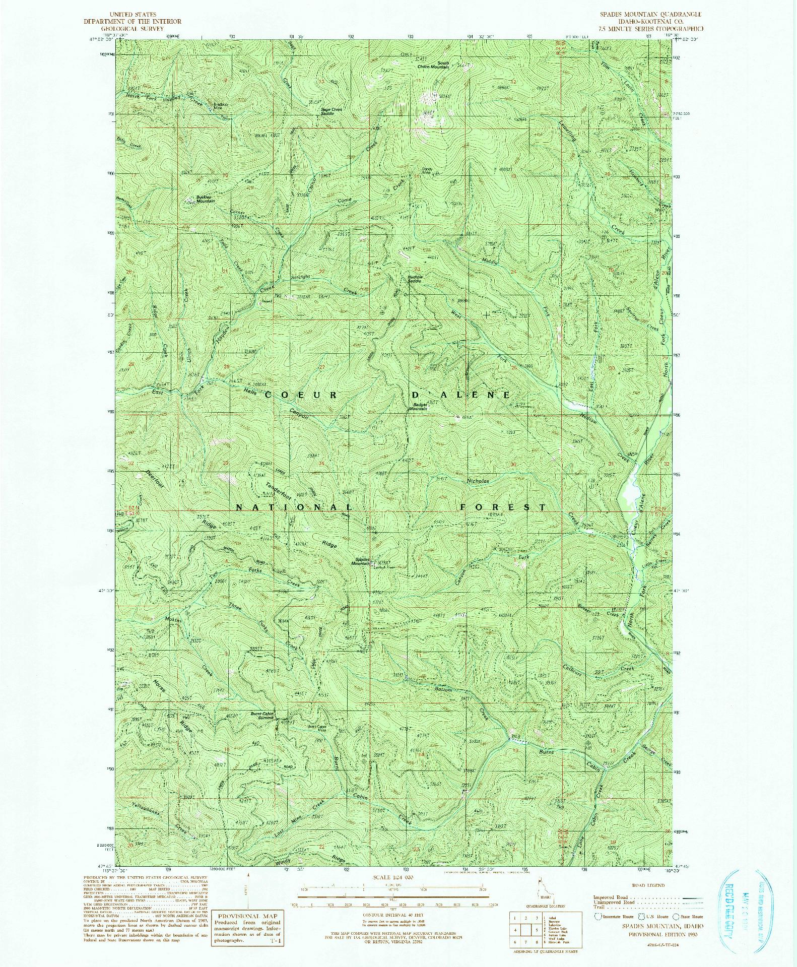 USGS 1:24000-SCALE QUADRANGLE FOR SPADES MOUNTAIN, ID 1990