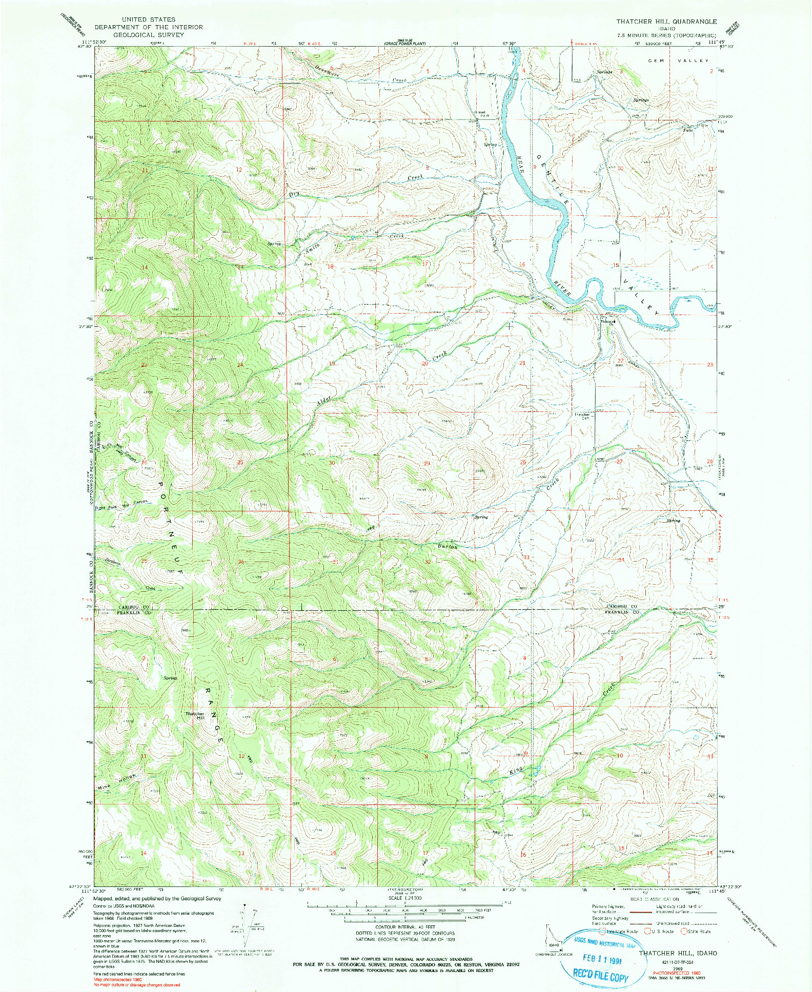 USGS 1:24000-SCALE QUADRANGLE FOR THATCHER HILL, ID 1969
