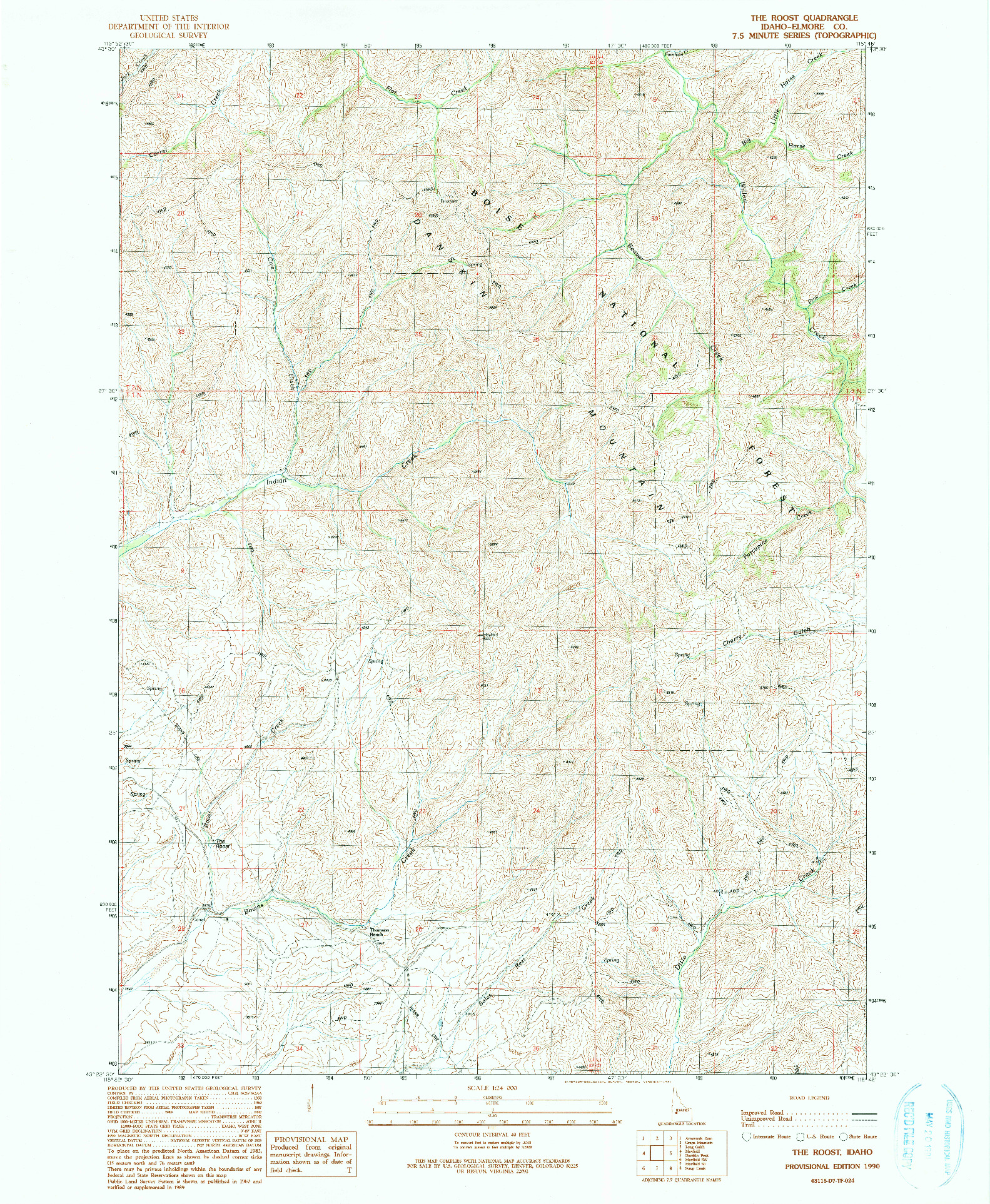 USGS 1:24000-SCALE QUADRANGLE FOR THE ROOST, ID 1990