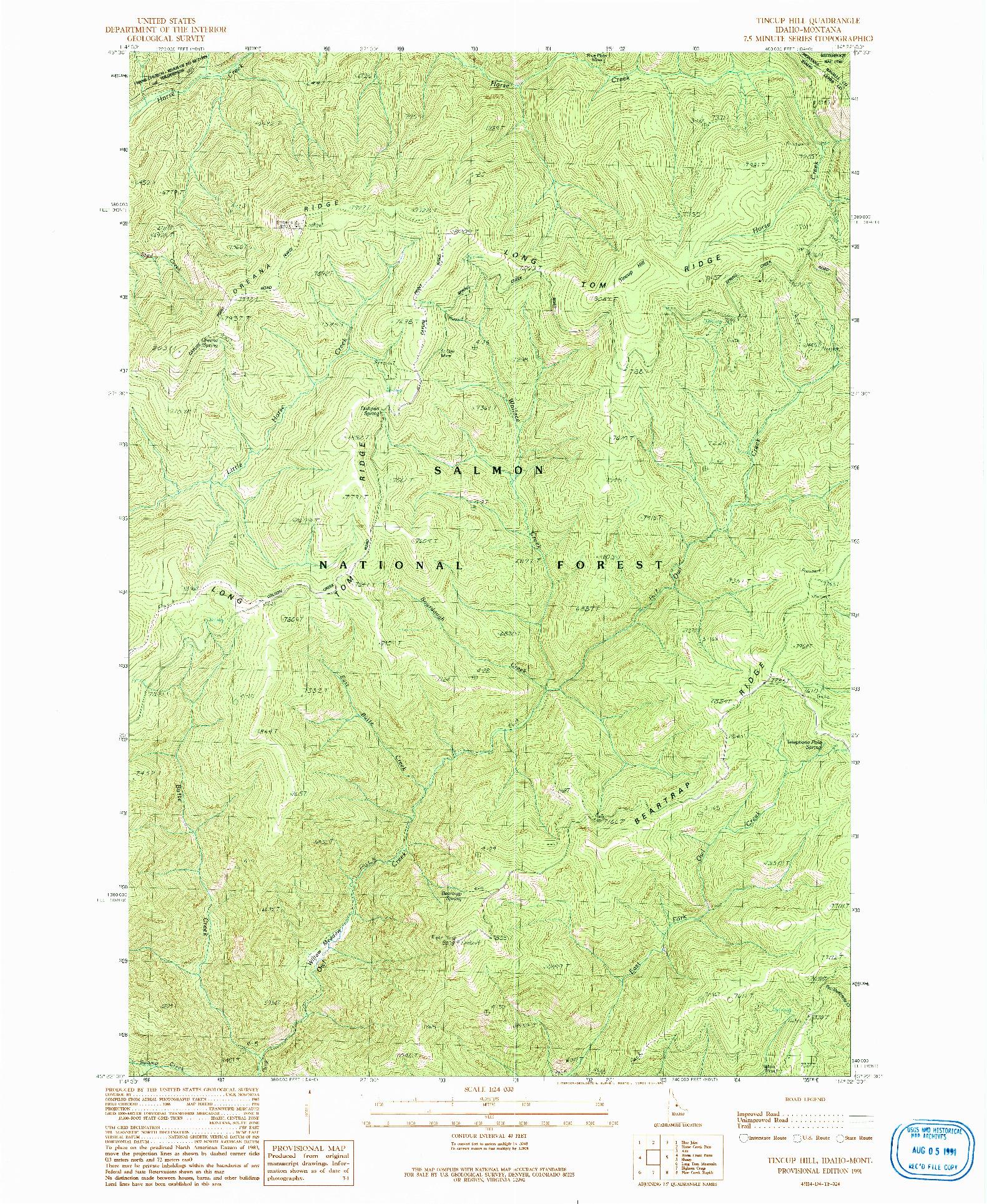 USGS 1:24000-SCALE QUADRANGLE FOR TINCUP HILL, ID 1991