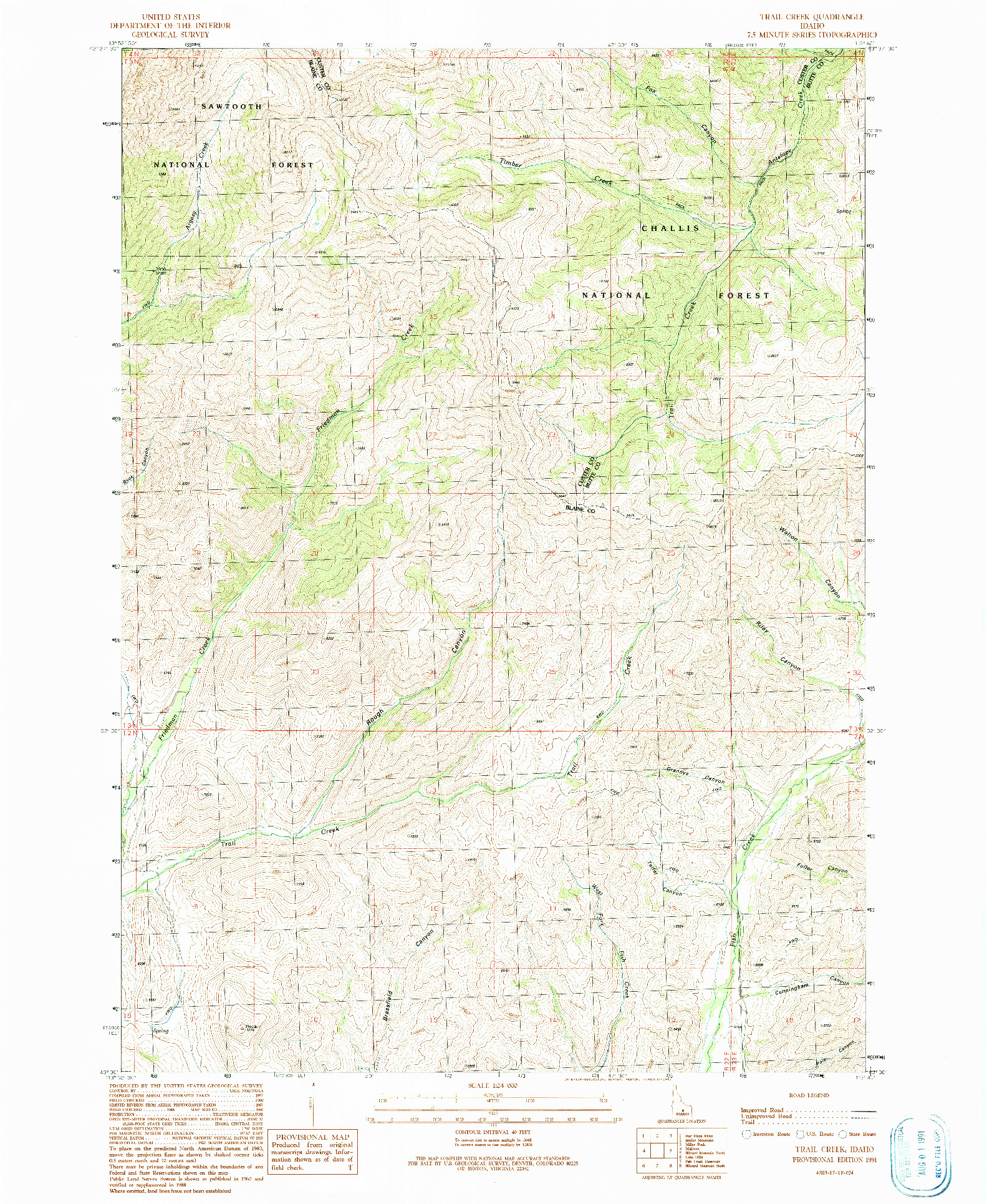USGS 1:24000-SCALE QUADRANGLE FOR TRAIL CREEK, ID 1991