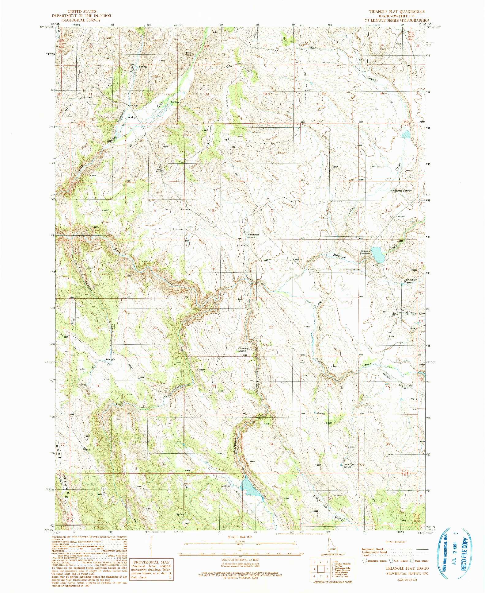 USGS 1:24000-SCALE QUADRANGLE FOR TRIANGLE FLAT, ID 1990