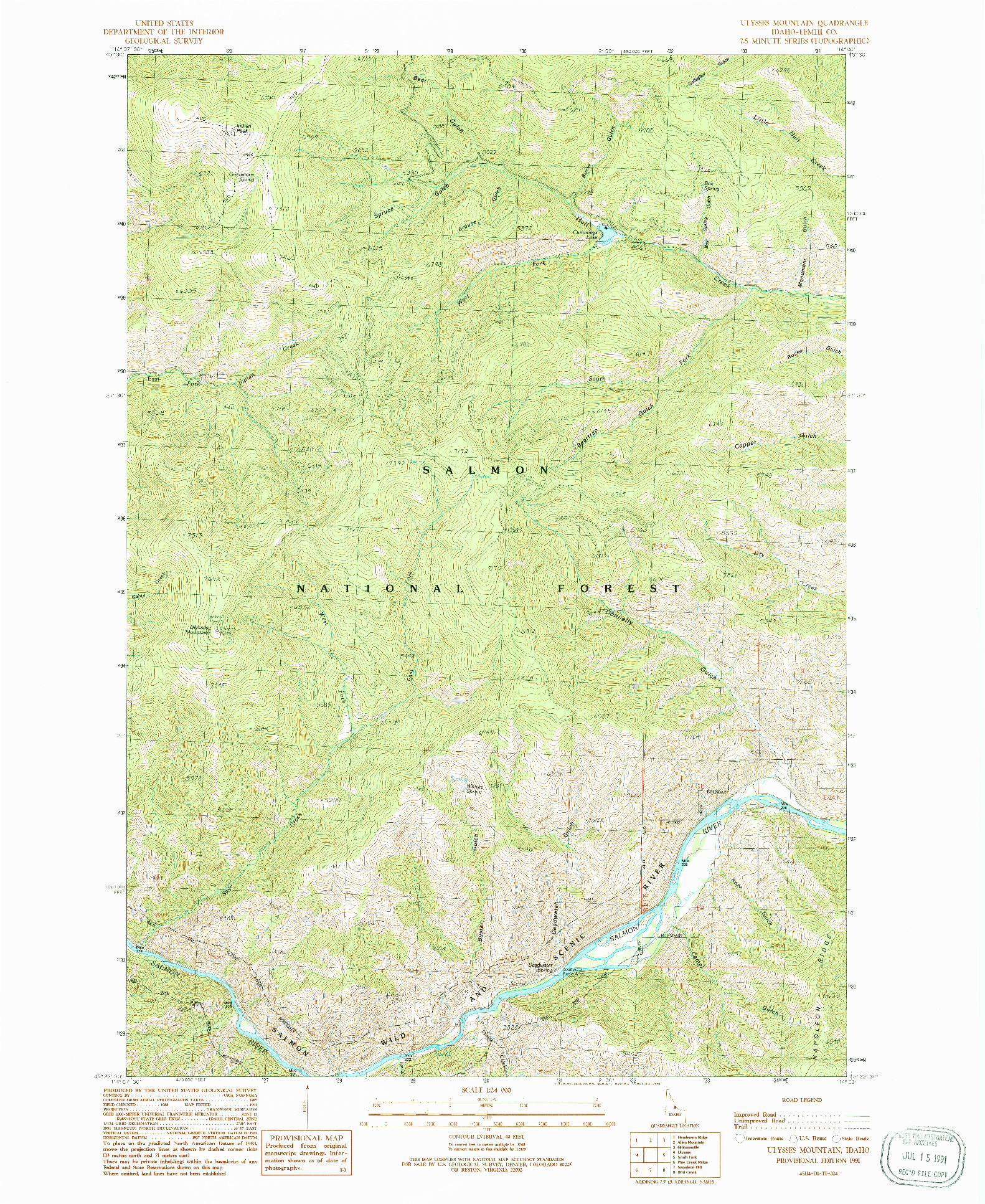 USGS 1:24000-SCALE QUADRANGLE FOR ULYSSES MOUNTAIN, ID 1991