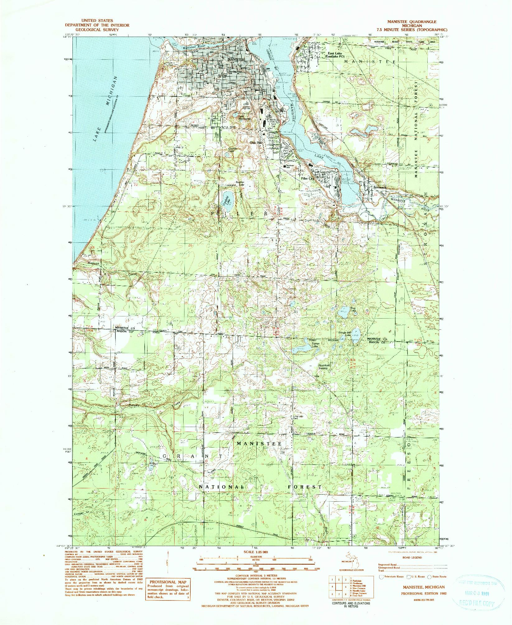 USGS 1:24000-SCALE QUADRANGLE FOR MANISTEE, MI 1982