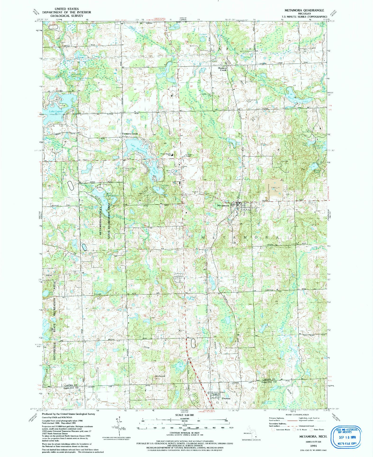USGS 1:24000-SCALE QUADRANGLE FOR METAMORA, MI 1991