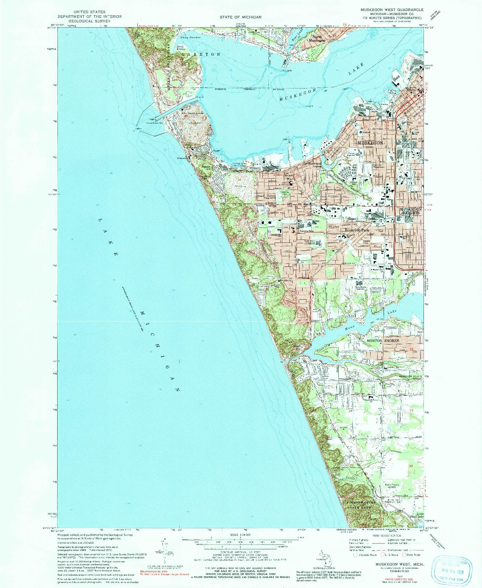 USGS 1:24000-SCALE QUADRANGLE FOR MUSKEGON WEST, MI 1972