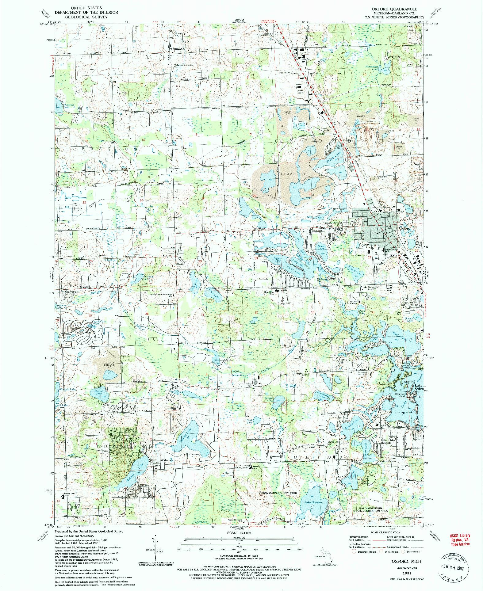 USGS 1:24000-SCALE QUADRANGLE FOR OXFORD, MI 1991