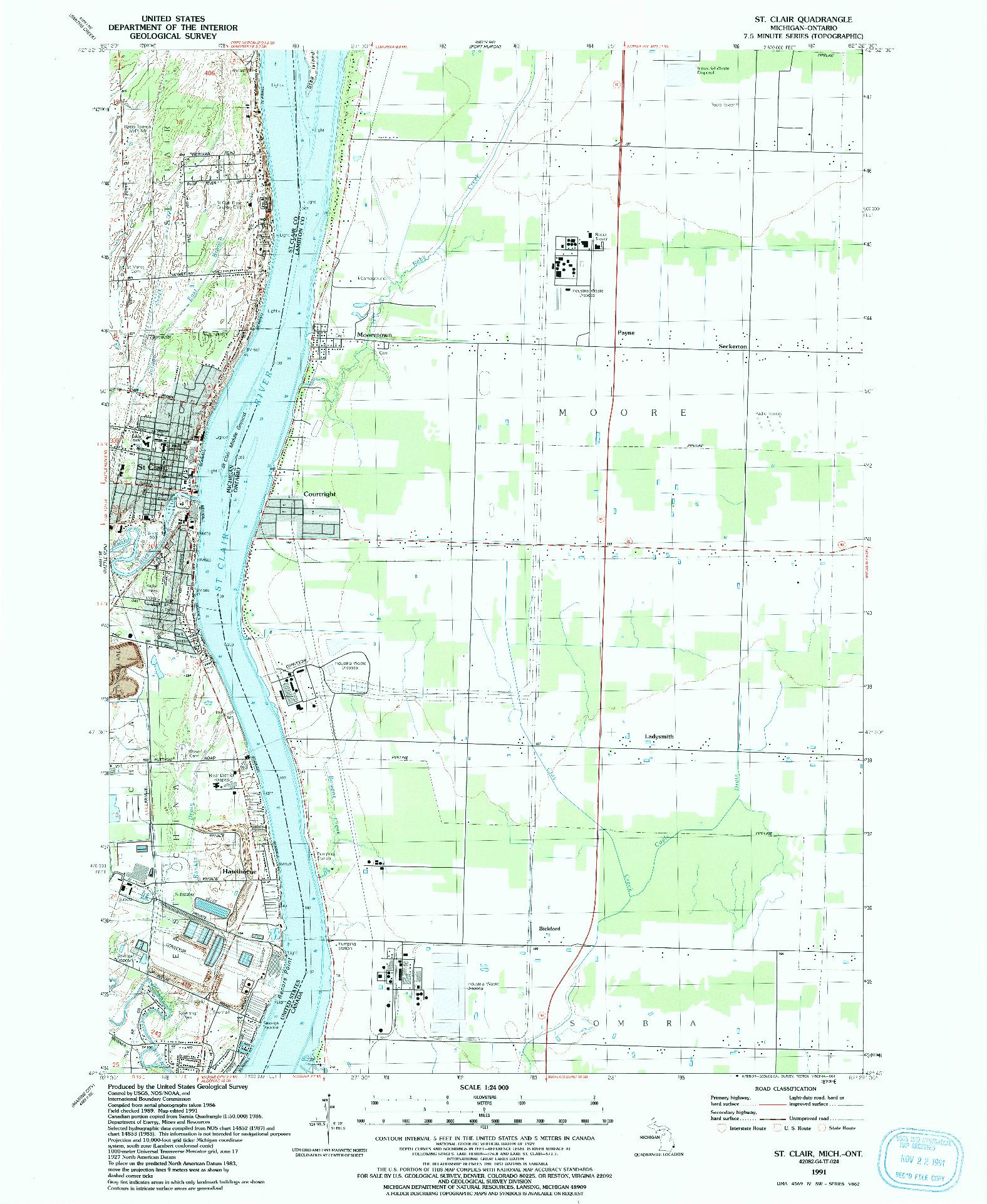 USGS 1:24000-SCALE QUADRANGLE FOR ST. CLAIR, MI 1991