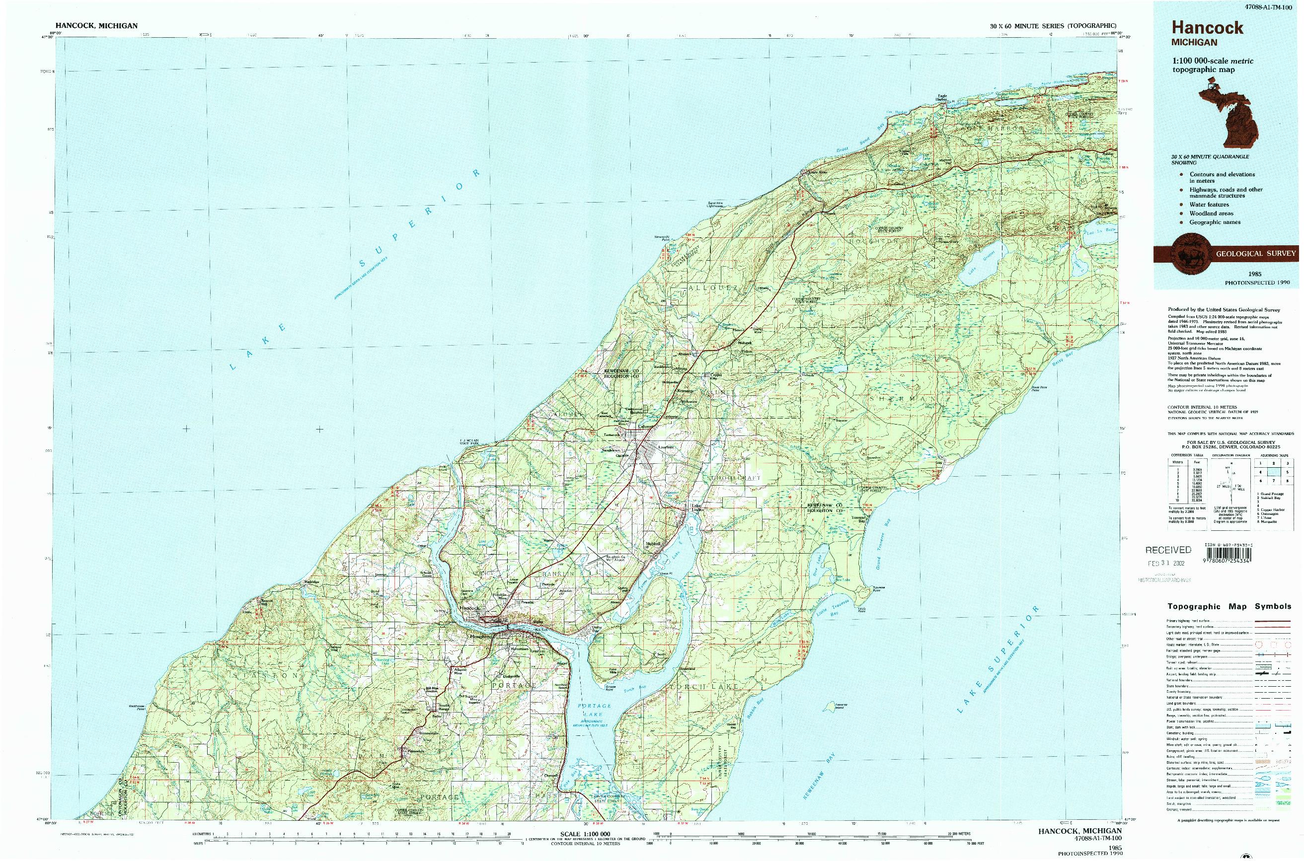 USGS 1:100000-SCALE QUADRANGLE FOR HANCOCK, MI 1985