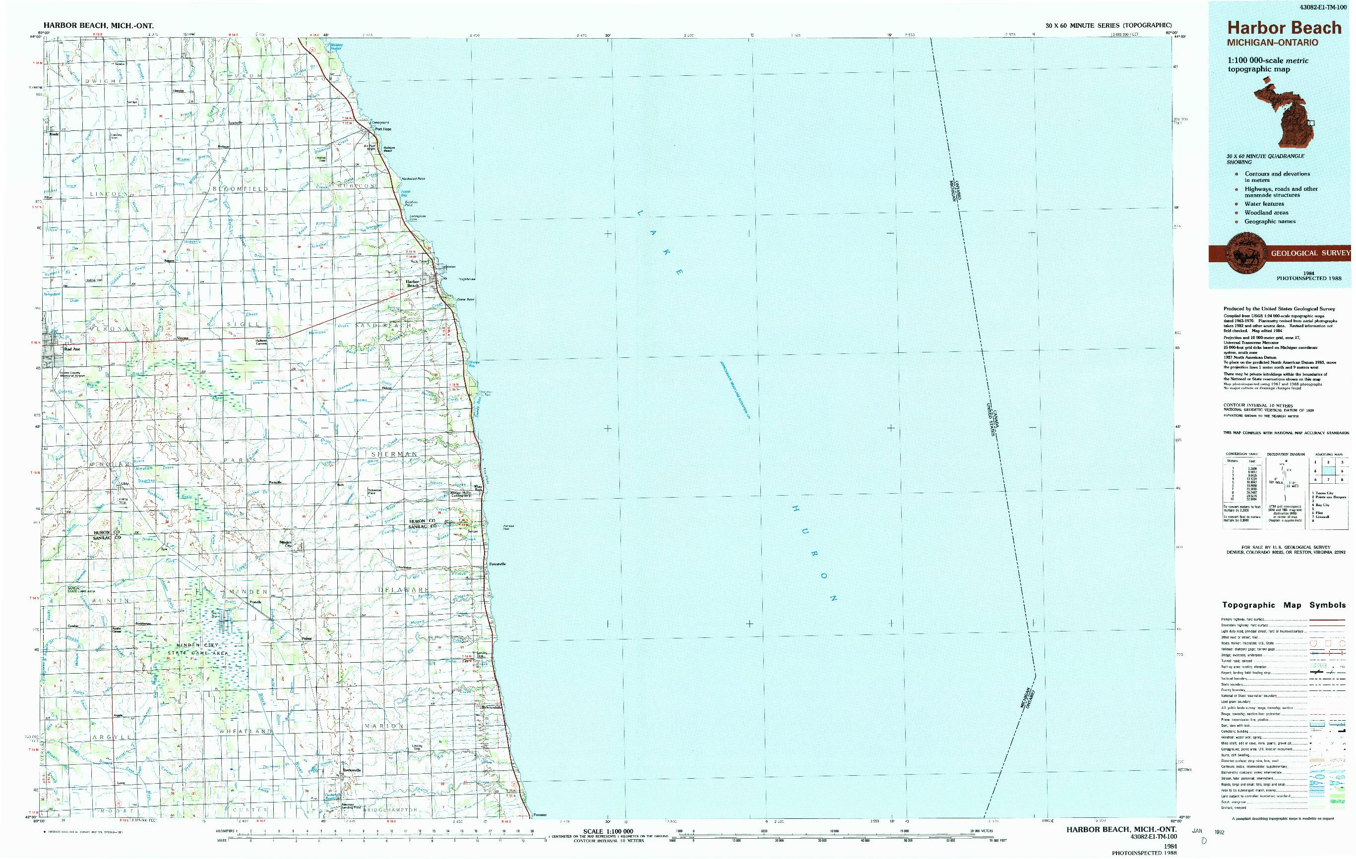USGS 1:100000-SCALE QUADRANGLE FOR HARBOR BEACH, MI 1984