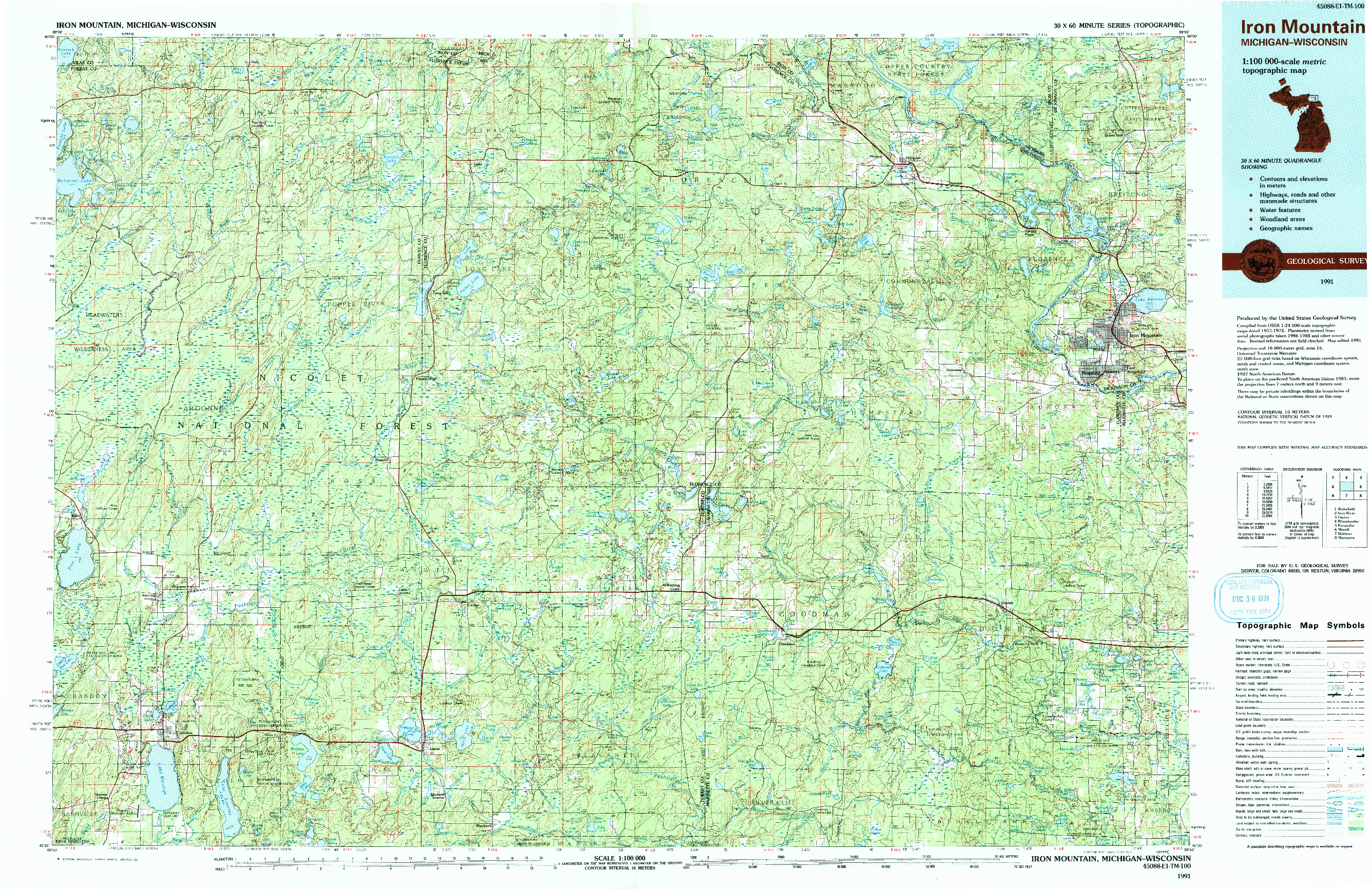 USGS 1:100000-SCALE QUADRANGLE FOR IRON MOUNTAIN, MI 1991