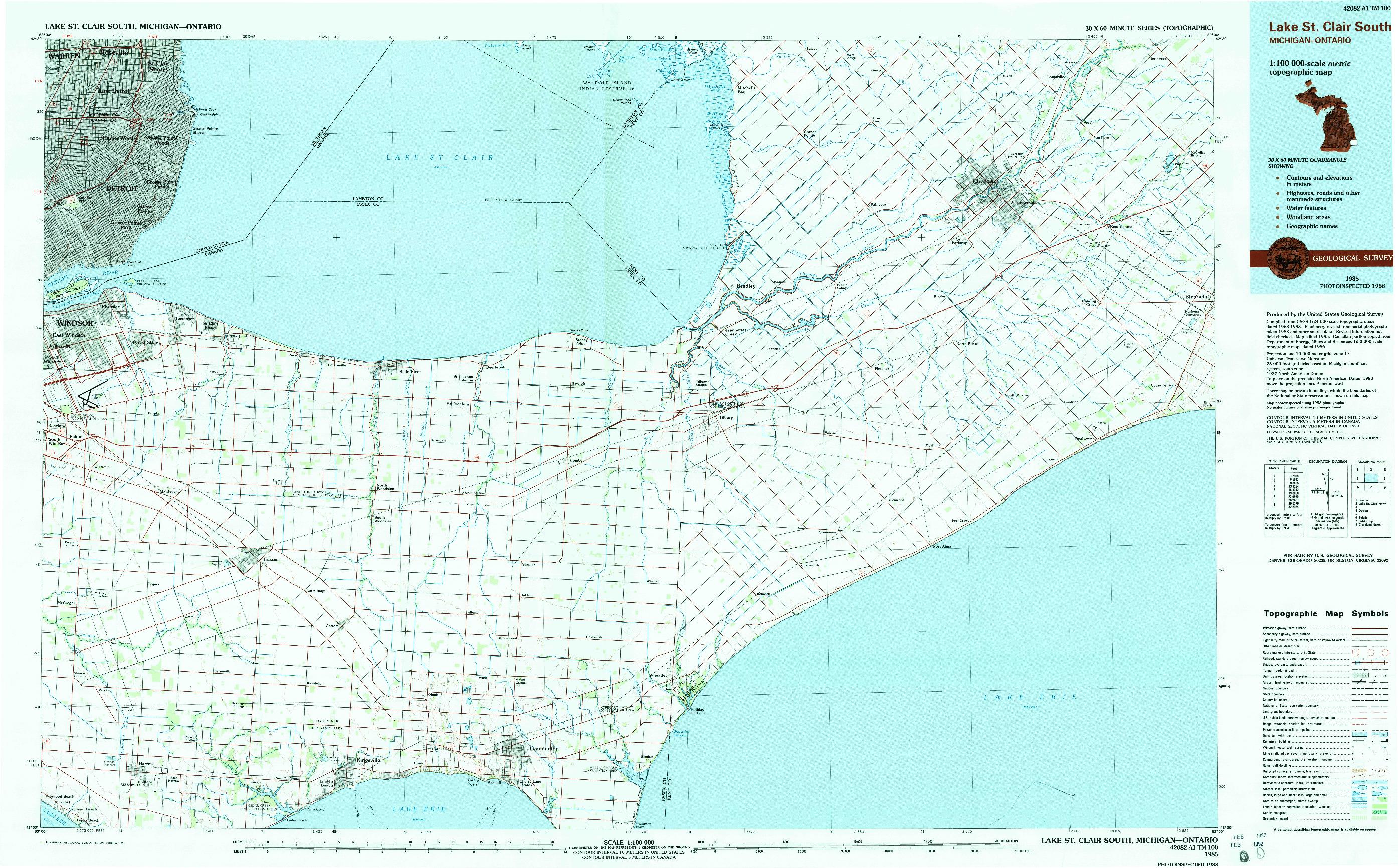 USGS 1:100000-SCALE QUADRANGLE FOR LAKE ST. CLAIR SOUTH, MI 1985