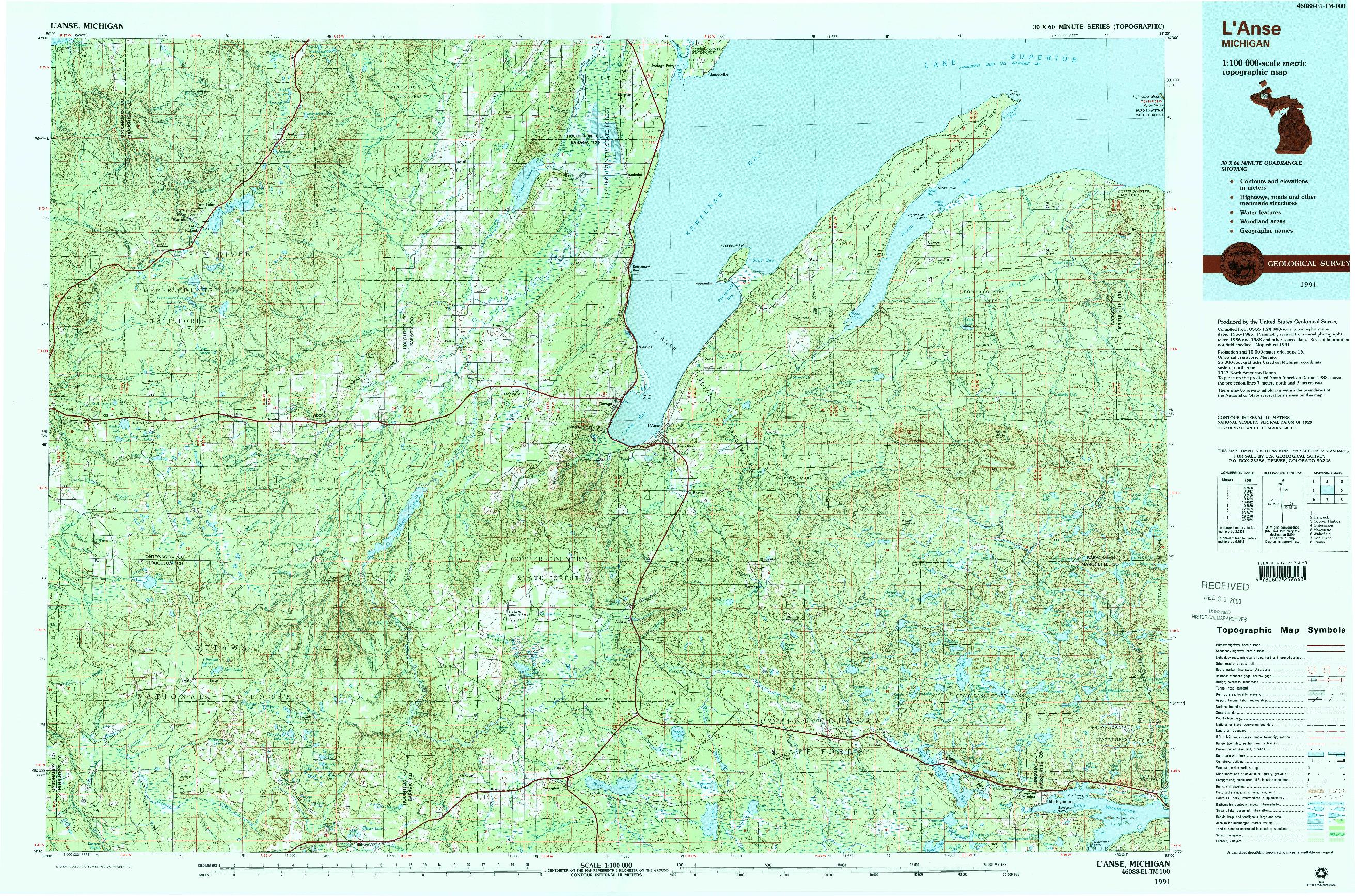 USGS 1:100000-SCALE QUADRANGLE FOR L'ANSE, MI 1991