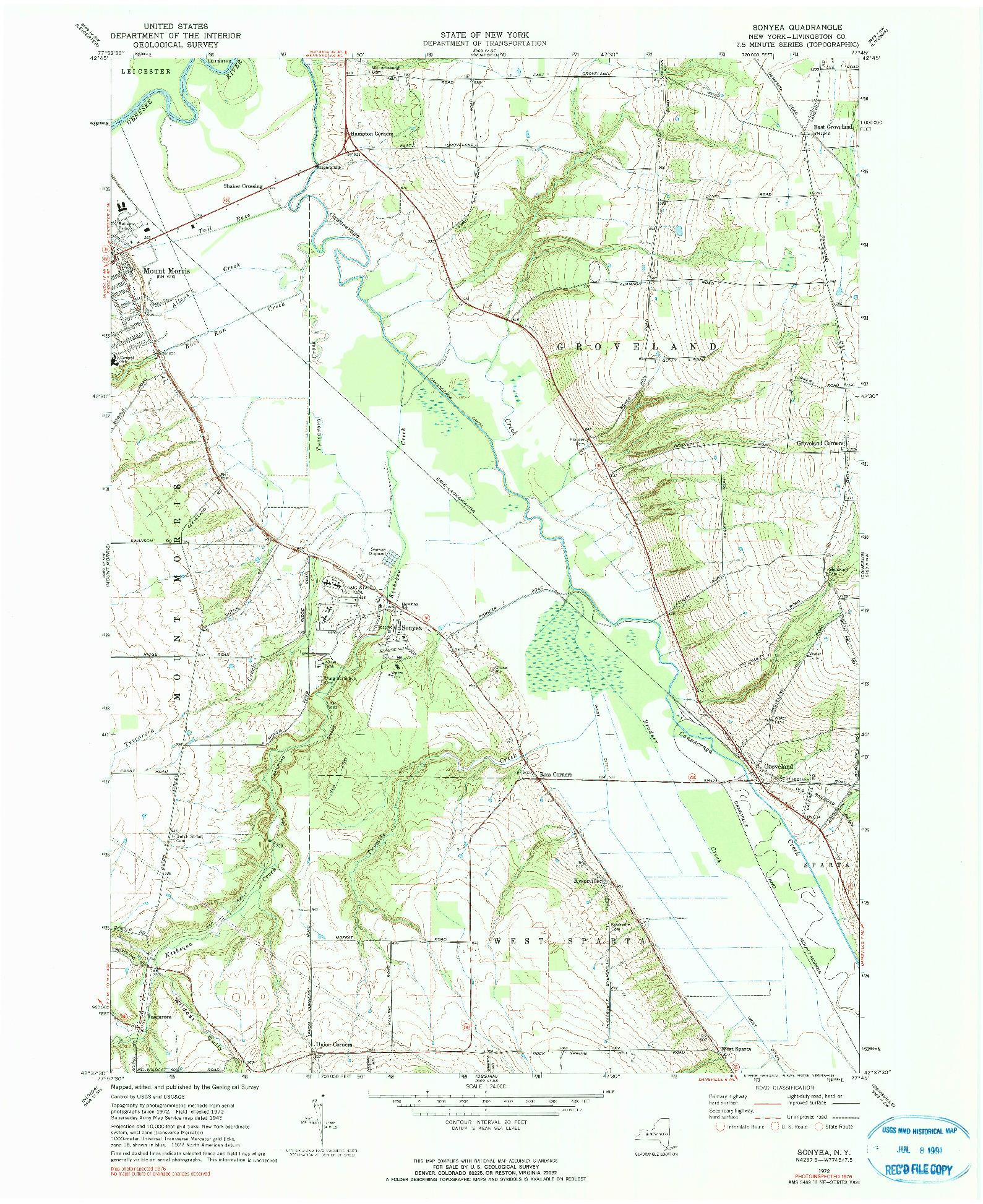 USGS 1:24000-SCALE QUADRANGLE FOR SONYEA, NY 1972