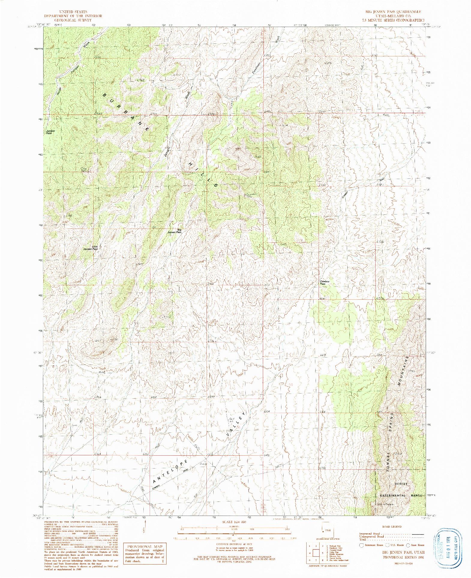 USGS 1:24000-SCALE QUADRANGLE FOR BIG JENSEN PASS, UT 1991