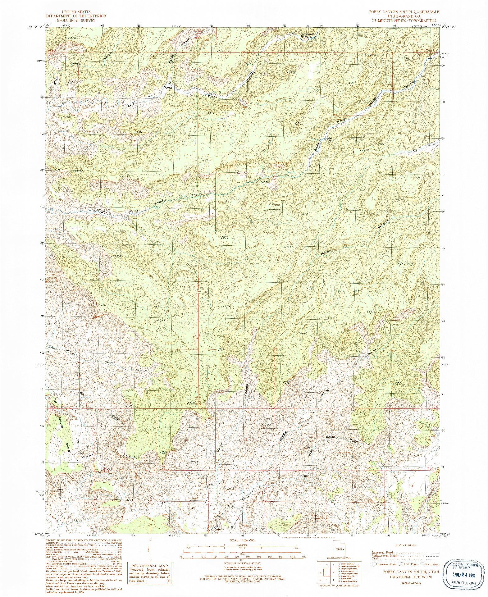 USGS 1:24000-SCALE QUADRANGLE FOR BOBBY CANYON SOUTH, UT 1991