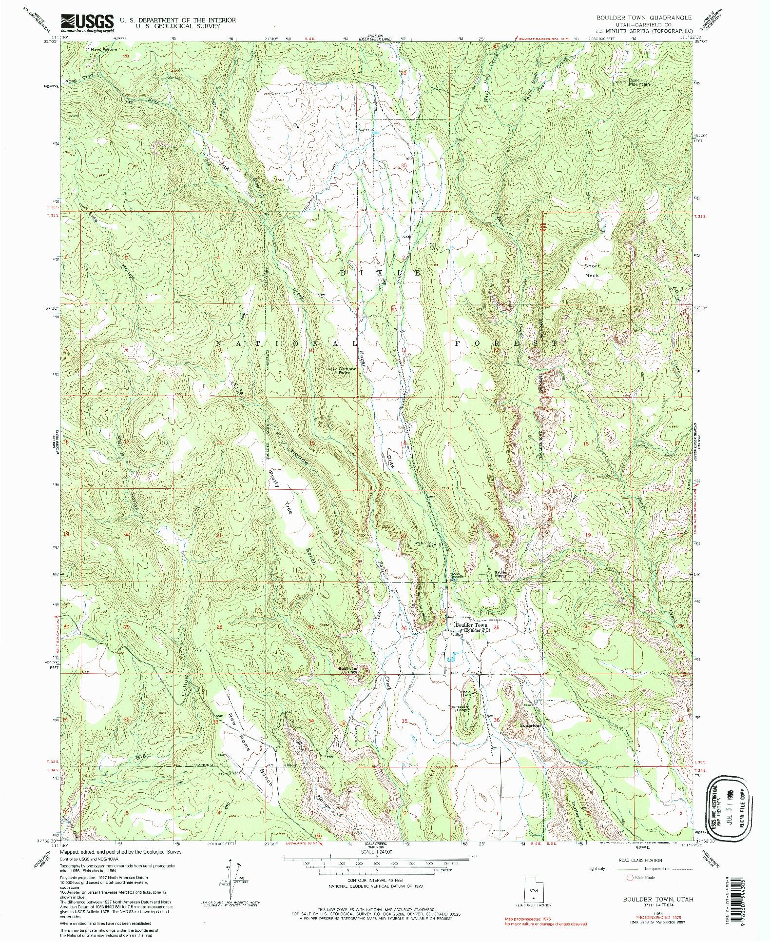 USGS 1:24000-SCALE QUADRANGLE FOR BOULDER TOWN, UT 1964