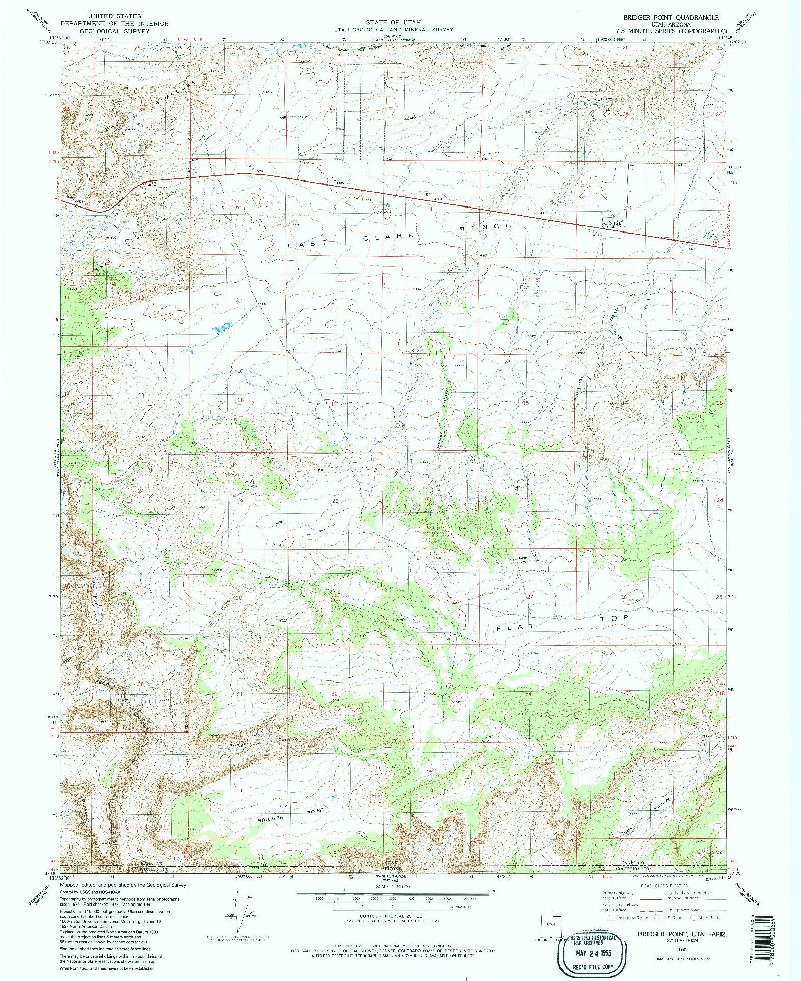 USGS 1:24000-SCALE QUADRANGLE FOR BRIDGER POINT, UT 1981