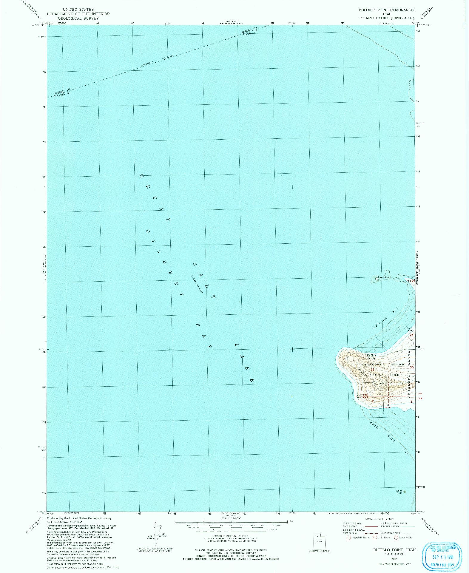 USGS 1:24000-SCALE QUADRANGLE FOR BUFFALO POINT, UT 1991