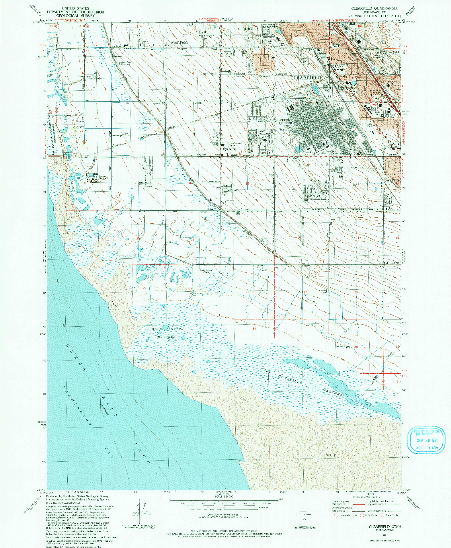 USGS 1:24000-SCALE QUADRANGLE FOR CLEARFIELD, UT 1991