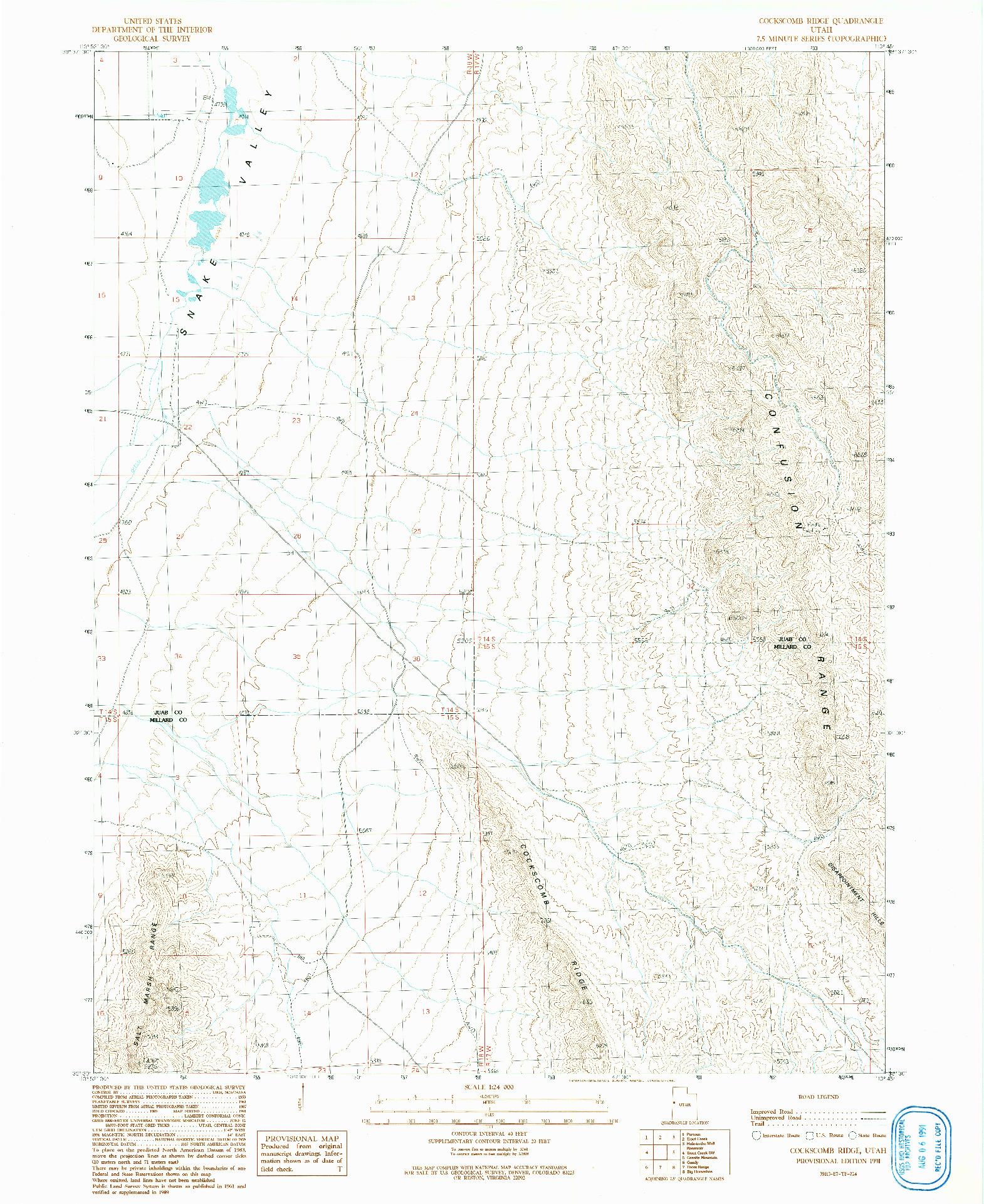 USGS 1:24000-SCALE QUADRANGLE FOR COCKSCOMB RIDGE, UT 1991