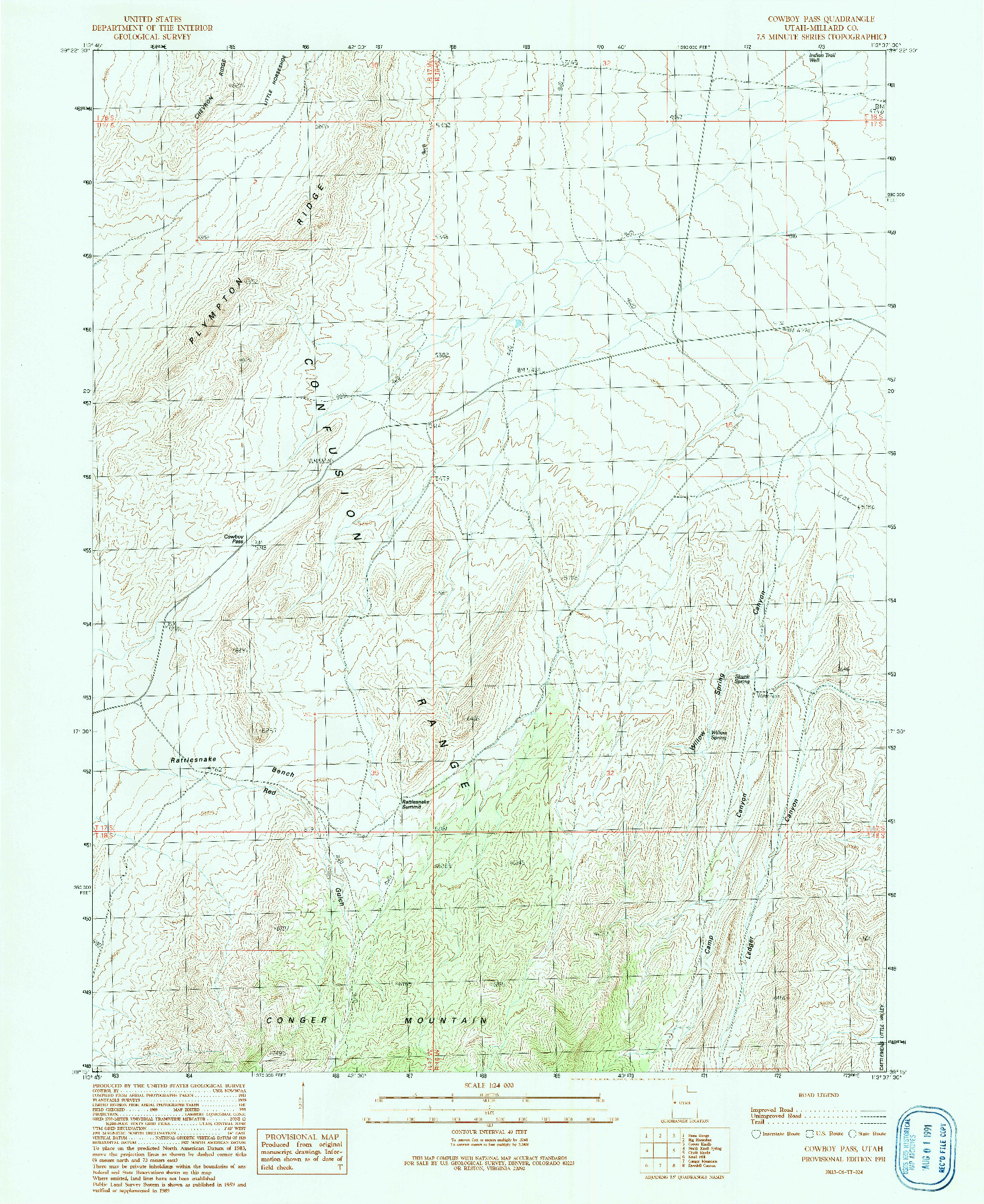 USGS 1:24000-SCALE QUADRANGLE FOR COWBOY PASS, UT 1991