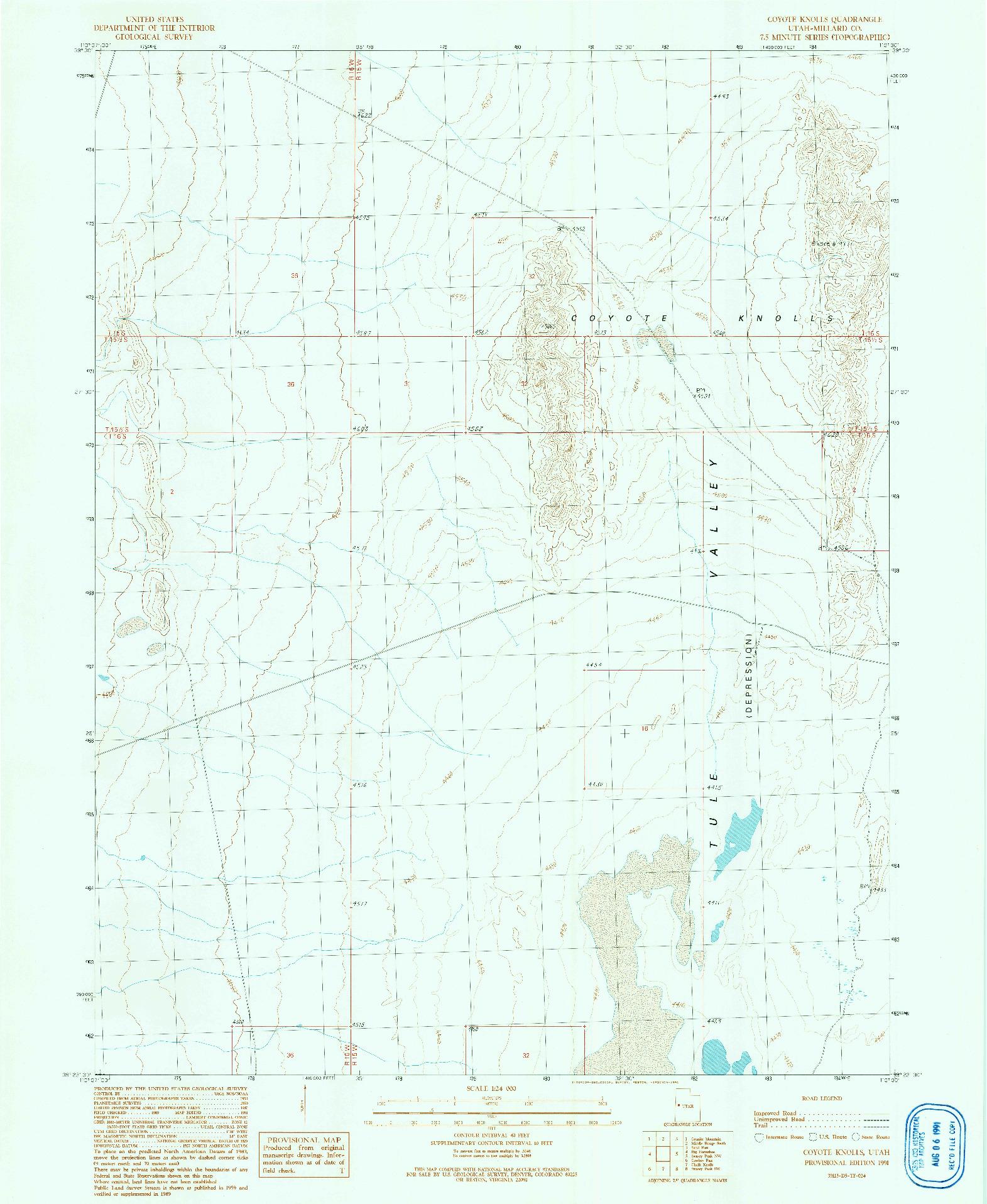USGS 1:24000-SCALE QUADRANGLE FOR COYOTE KNOLLS, UT 1991