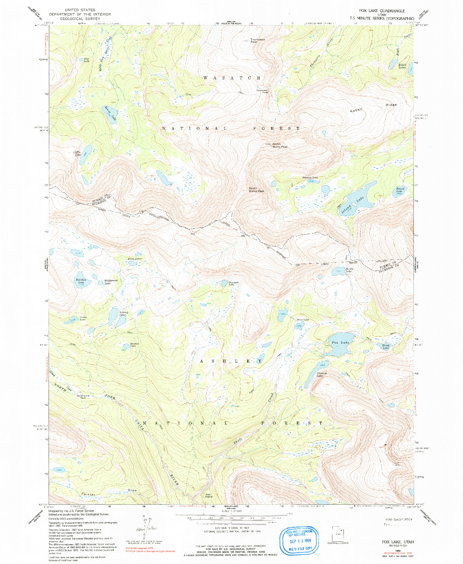 USGS 1:24000-SCALE QUADRANGLE FOR FOX LAKE, UT 1965