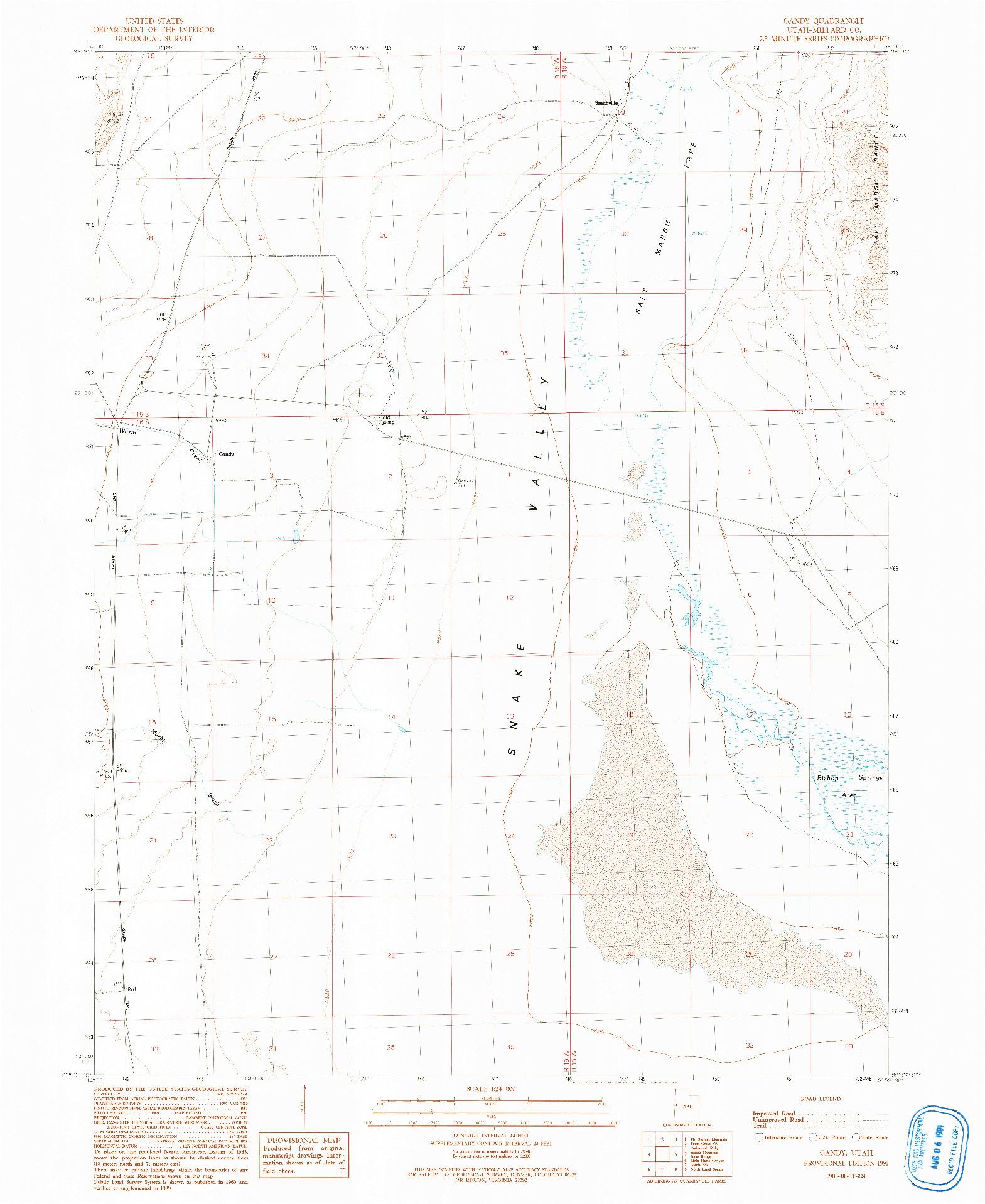 USGS 1:24000-SCALE QUADRANGLE FOR GANDY, UT 1991