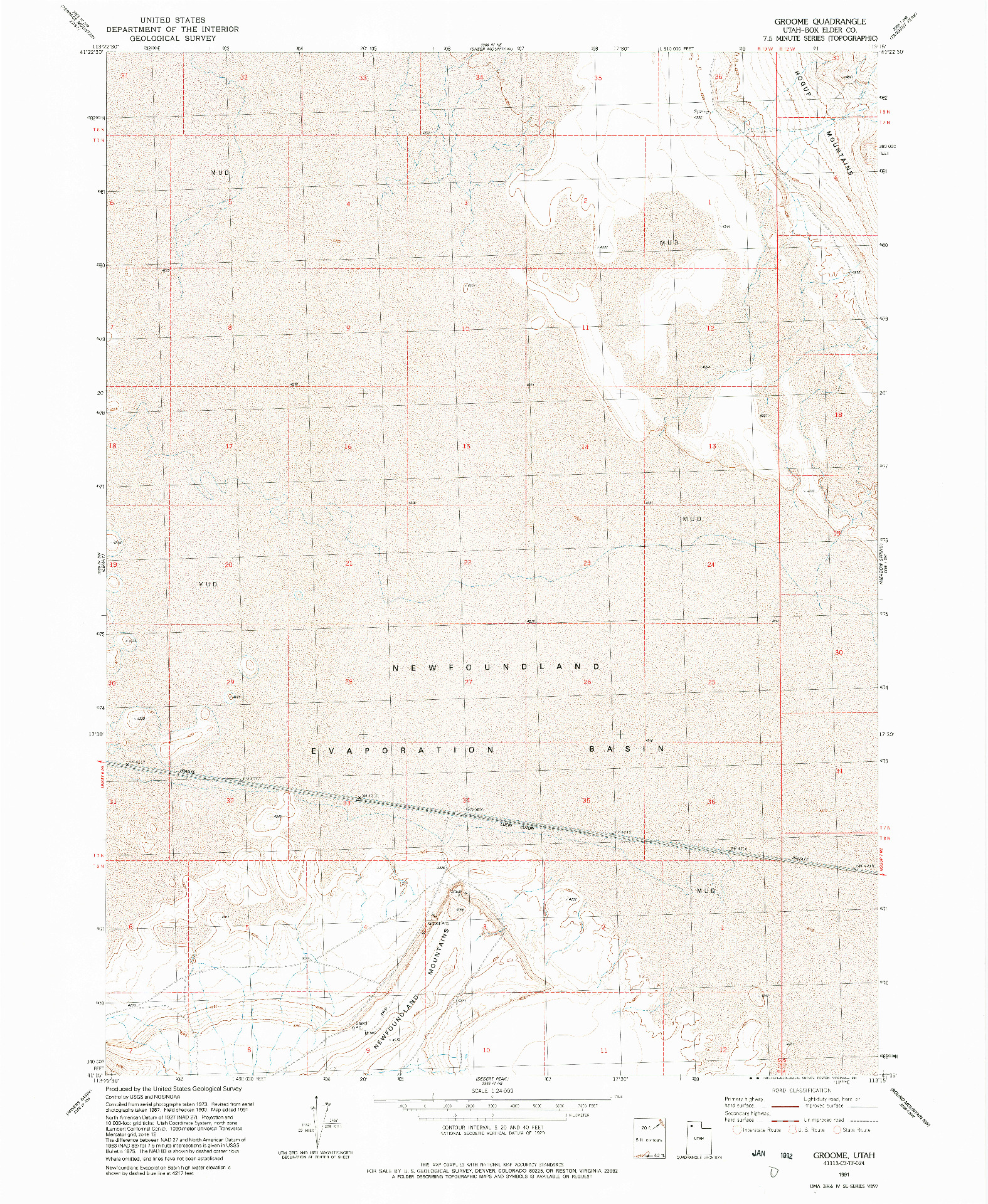 USGS 1:24000-SCALE QUADRANGLE FOR GROOME, UT 1991