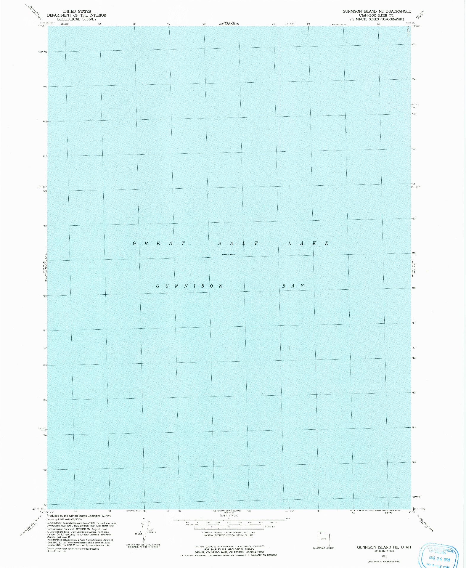 USGS 1:24000-SCALE QUADRANGLE FOR GUNNISON ISLAND NE, UT 1991
