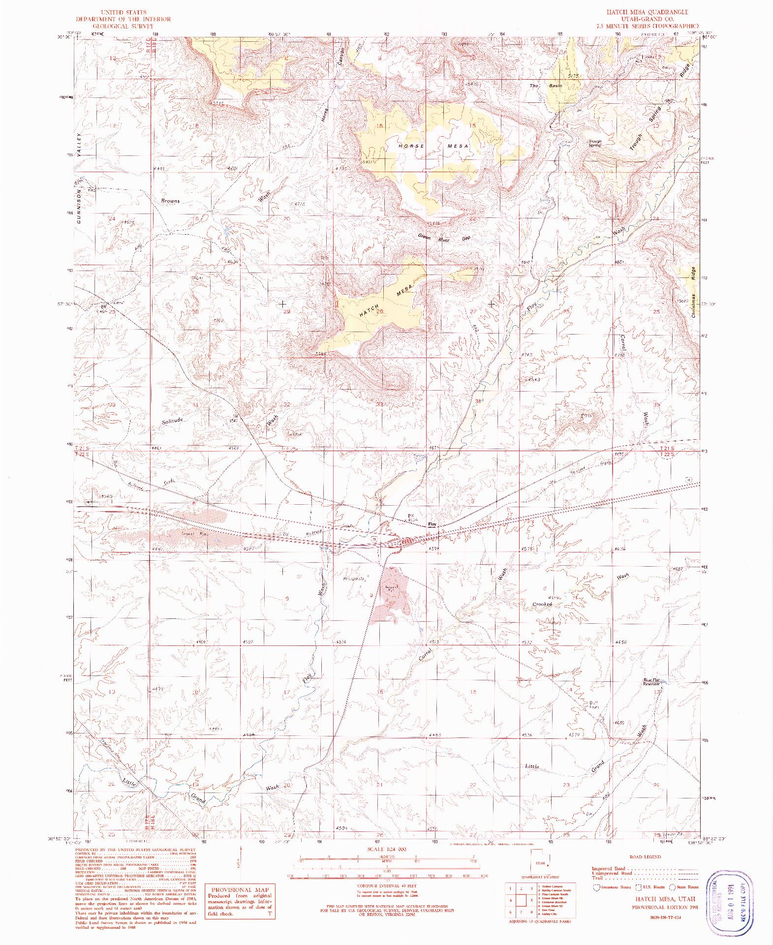 USGS 1:24000-SCALE QUADRANGLE FOR HATCH MESA, UT 1991