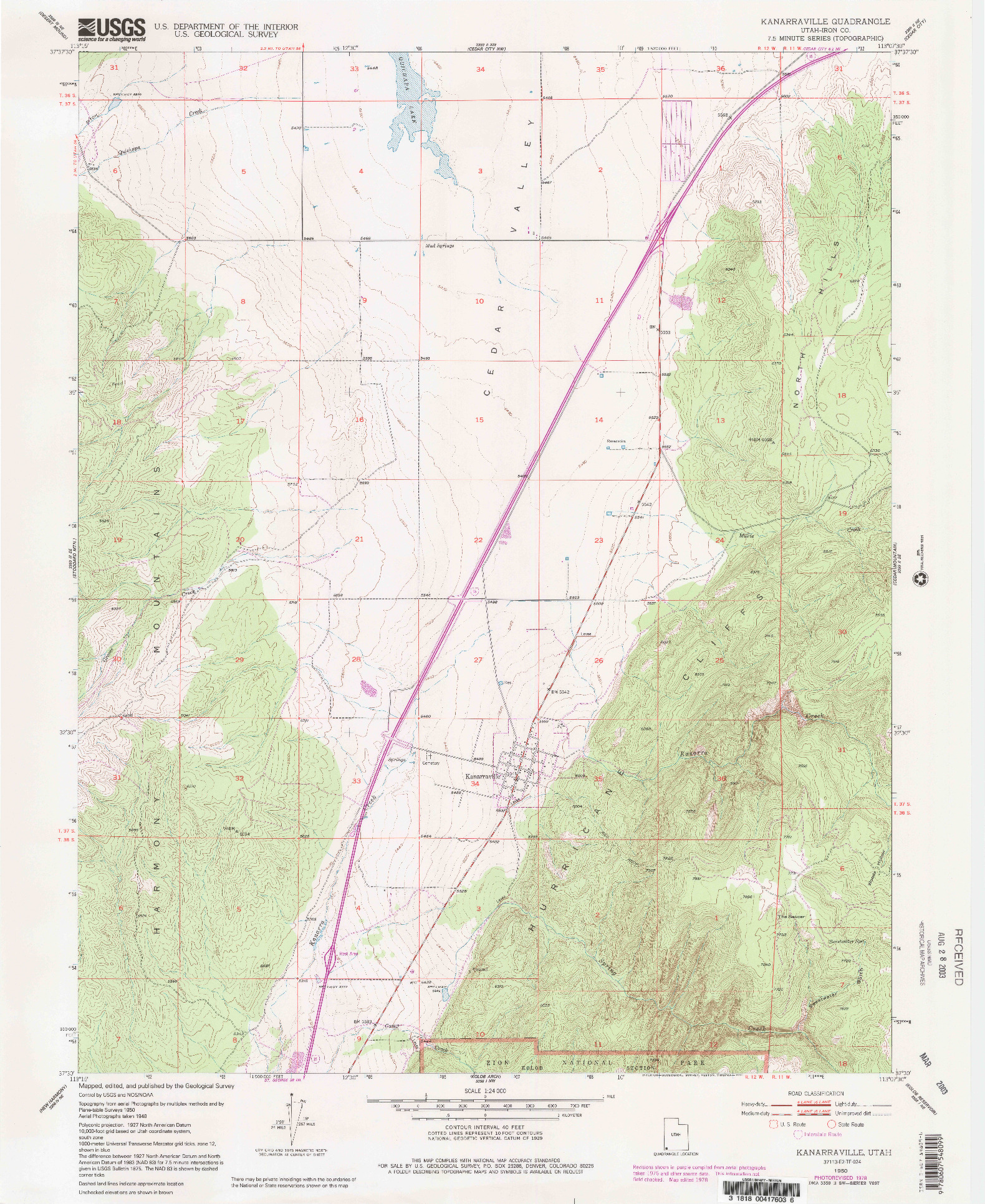USGS 1:24000-SCALE QUADRANGLE FOR KANARRAVILLE, UT 1950