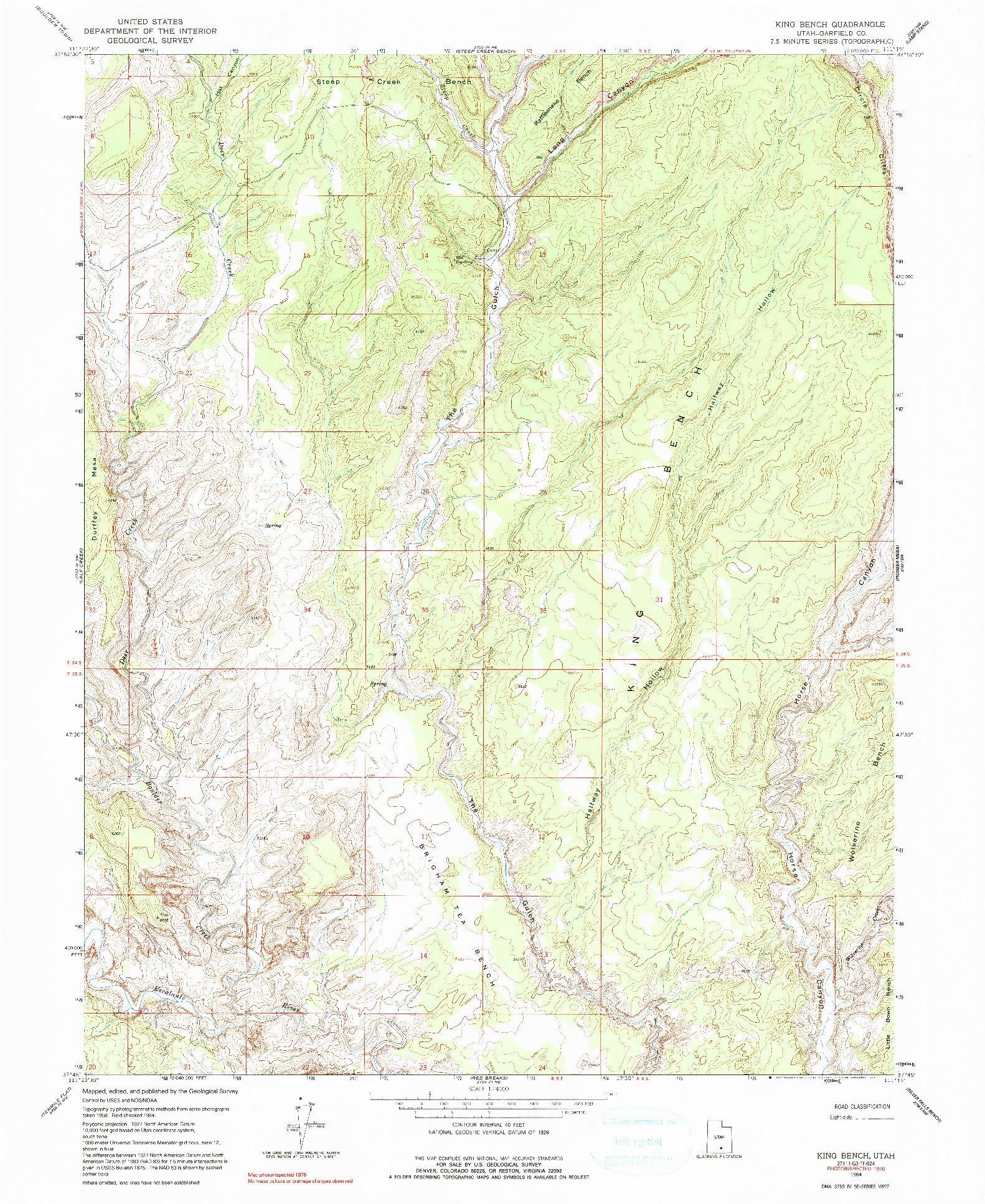 USGS 1:24000-SCALE QUADRANGLE FOR KING BENCH, UT 1964